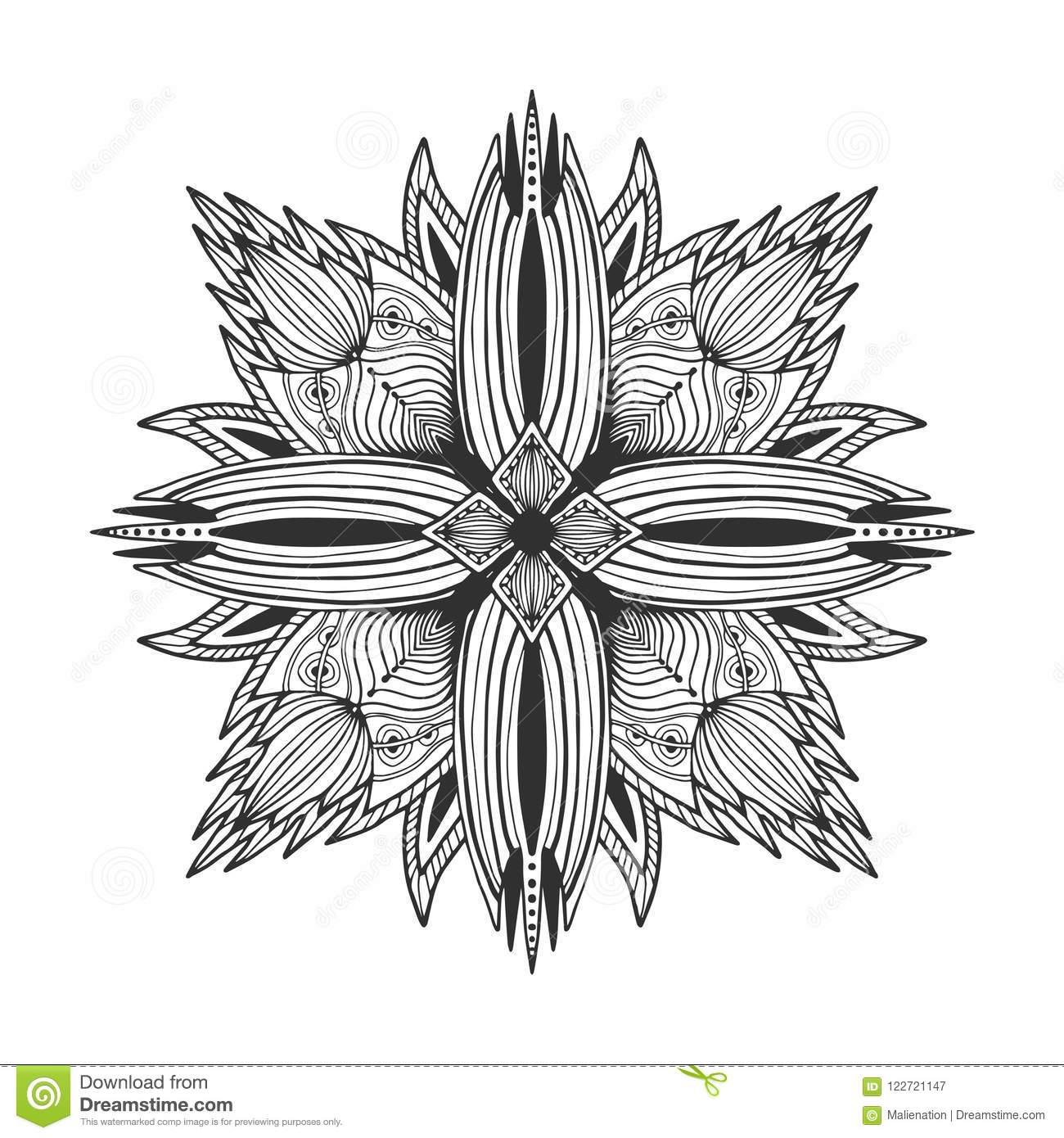 Floral Tattoo Mandala Flower Ornament Pattern Vector For Adult