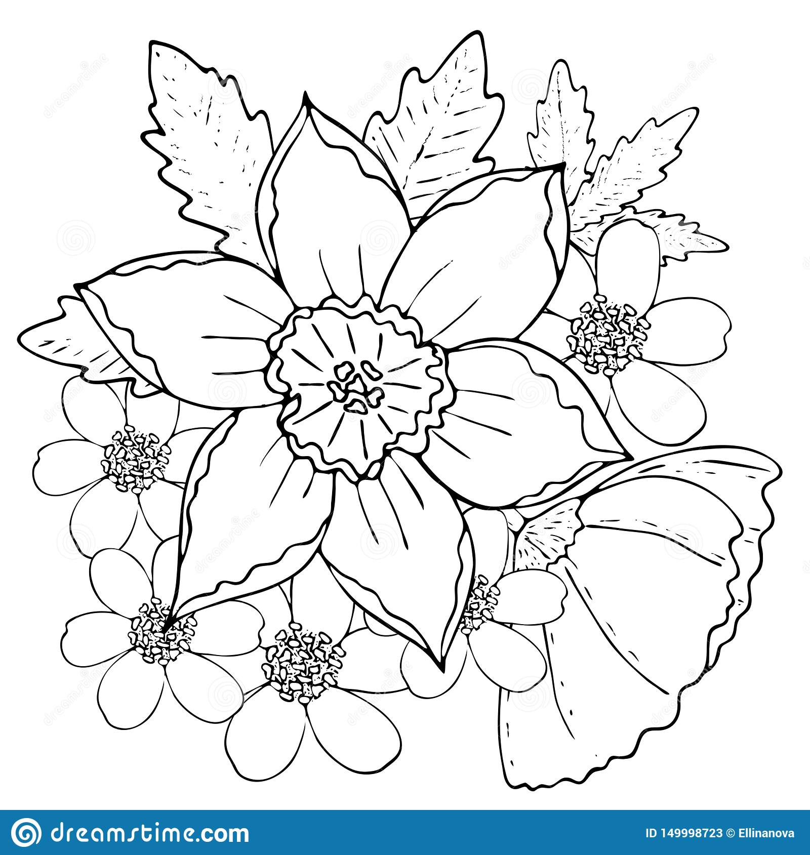 Floral Template With Black Line Field Flowers Stock Vector