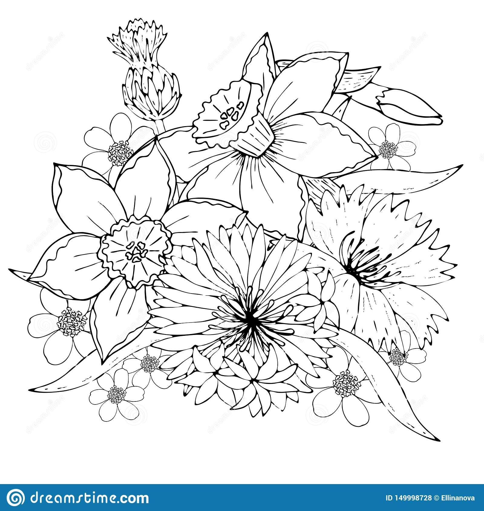 Floral Template With Black Line Field Flowers Stock Vector Illustration Of Coloring Isolated 149998728