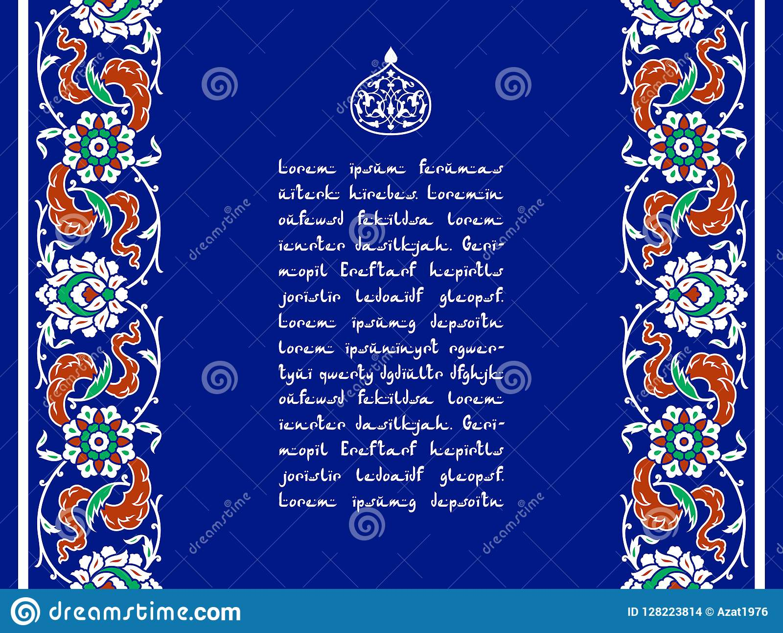 Floral template for your design. Traditional Turkish � Ottoman ornament. Iznik.
