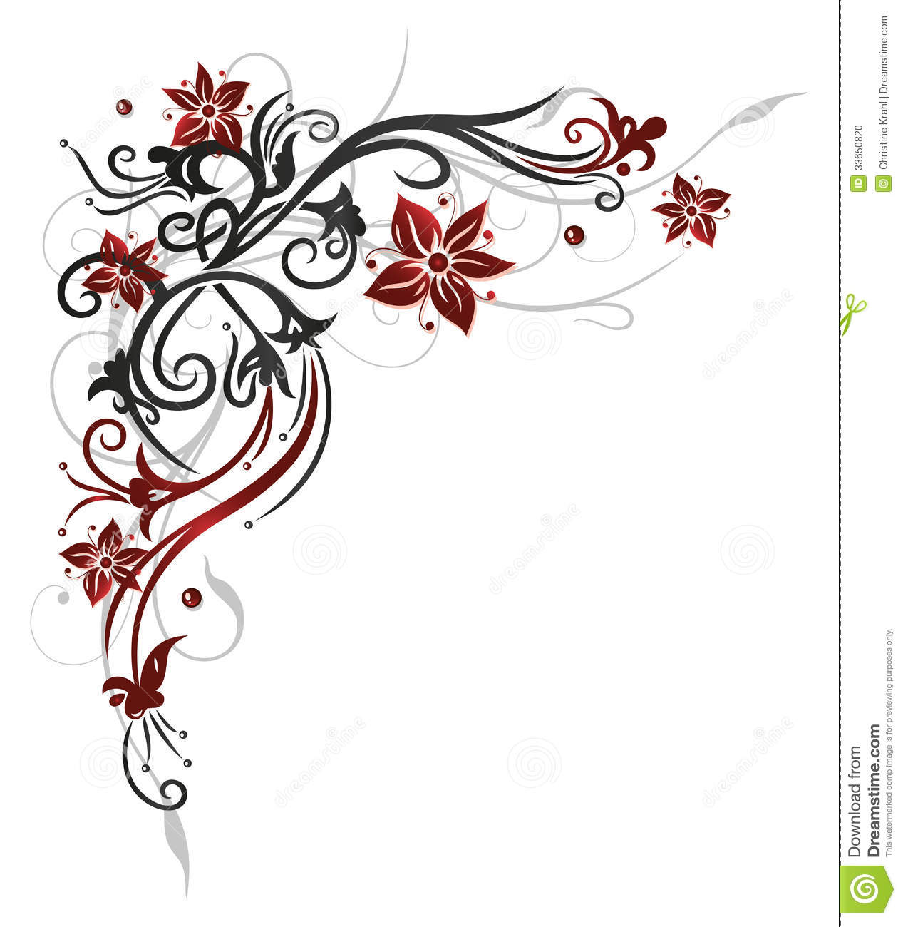 Floral tendril flowers red stock vector illustration for Cadre floral mural