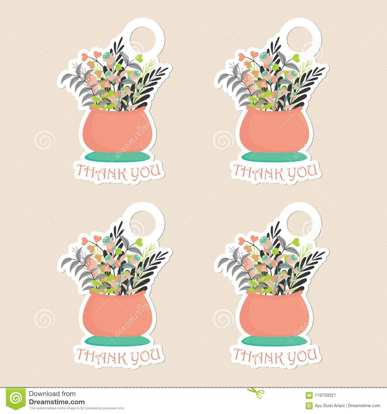 thanks tag set vector design template with flowers vase stock