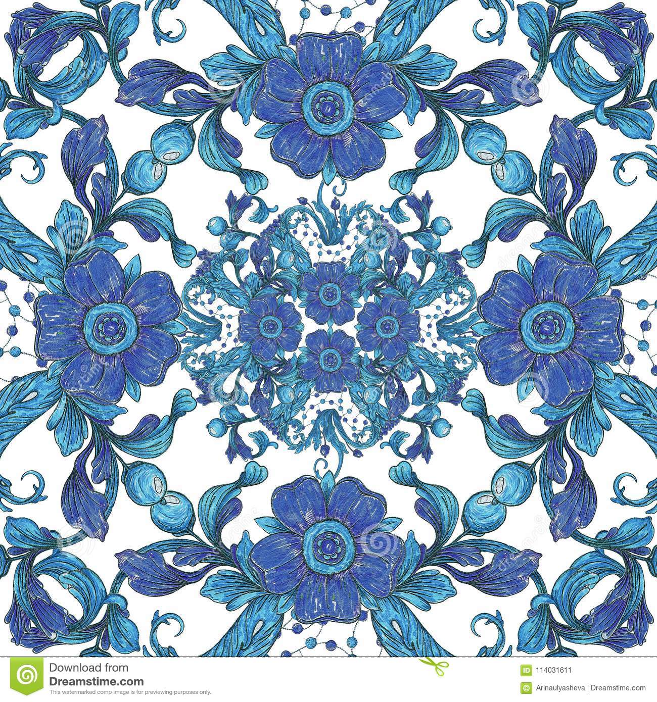 Floral Tile Wallpaper Baroque Blue And White Ornament Stock