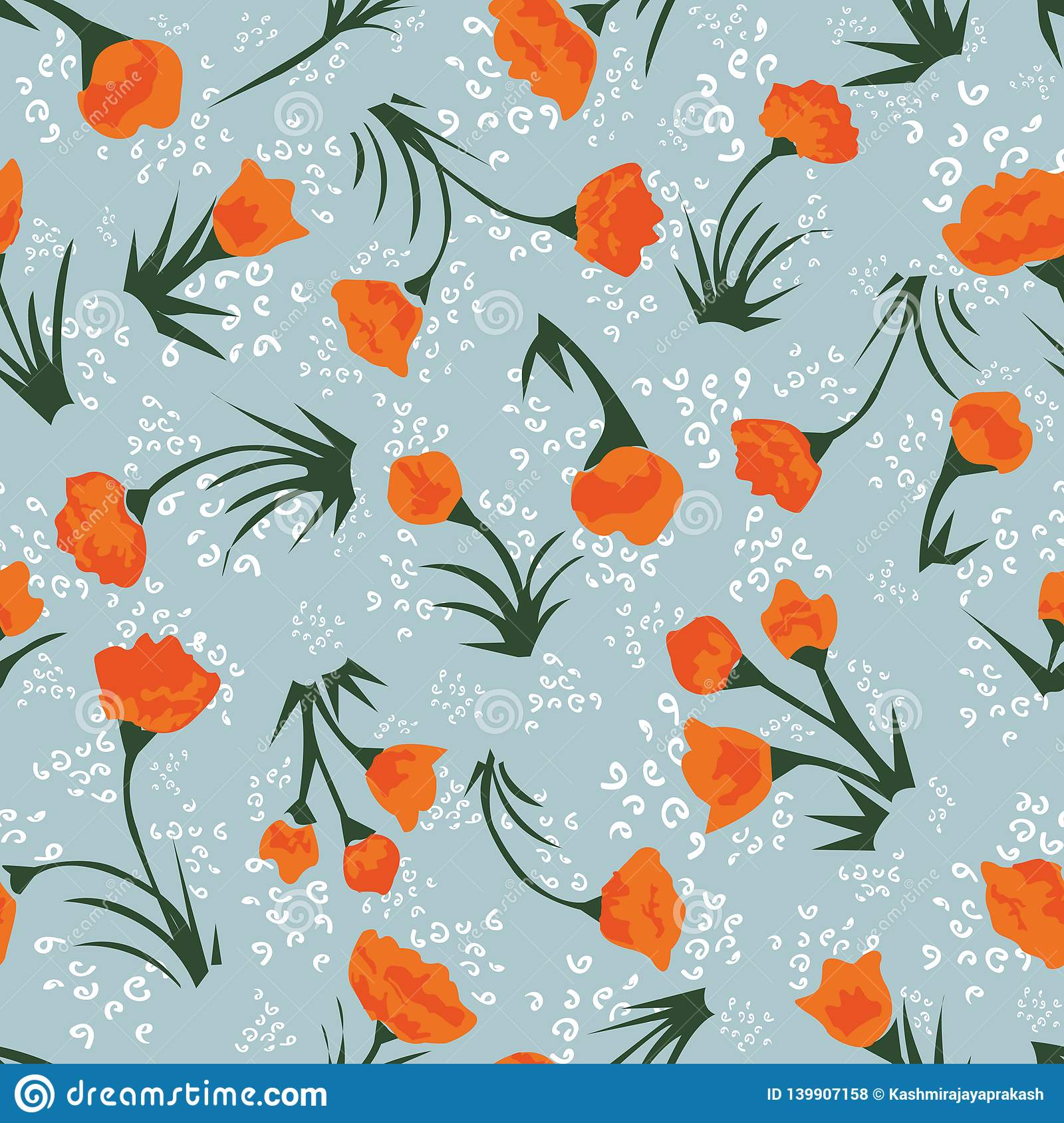 Tiny orange floral seamless vector pattern