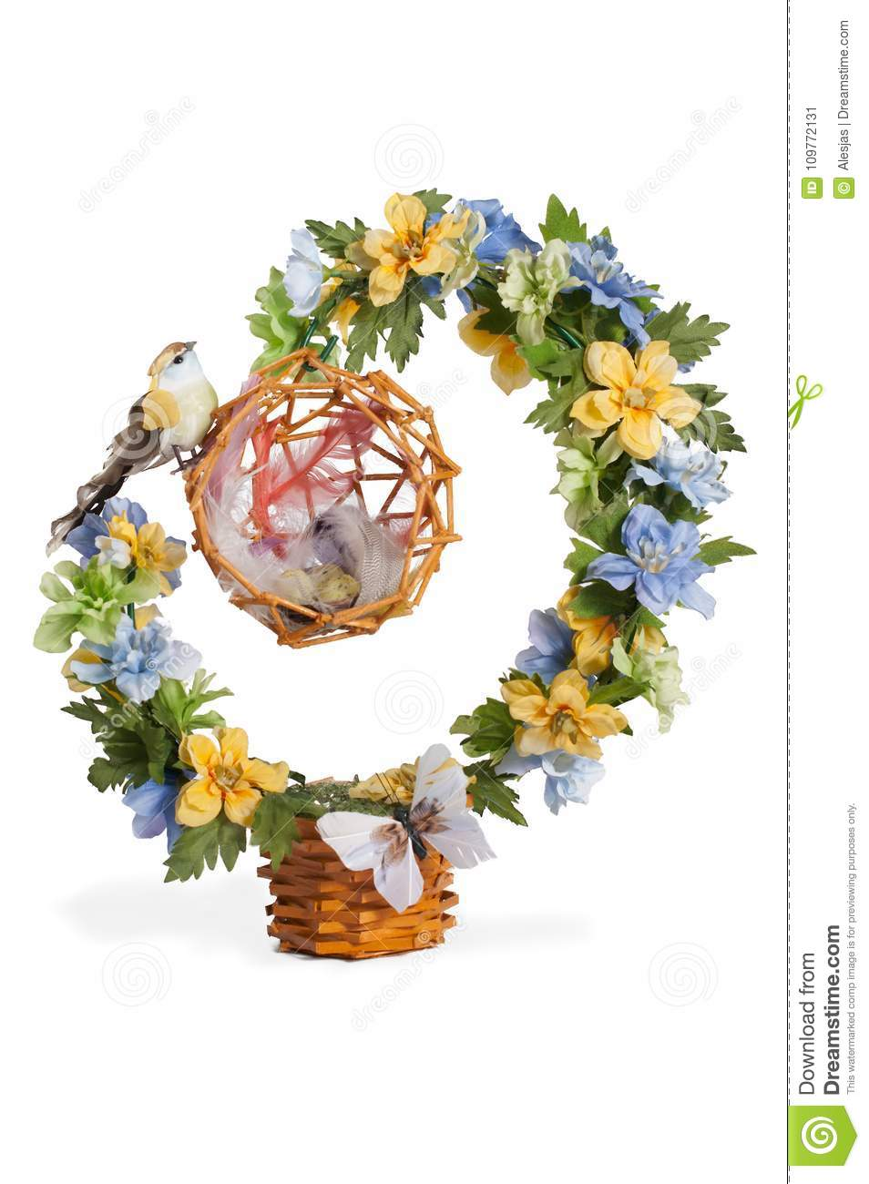 Floral Topiary With A Bird And Its Nest Over White Background Stock Image Image Of Floral Background 109772131