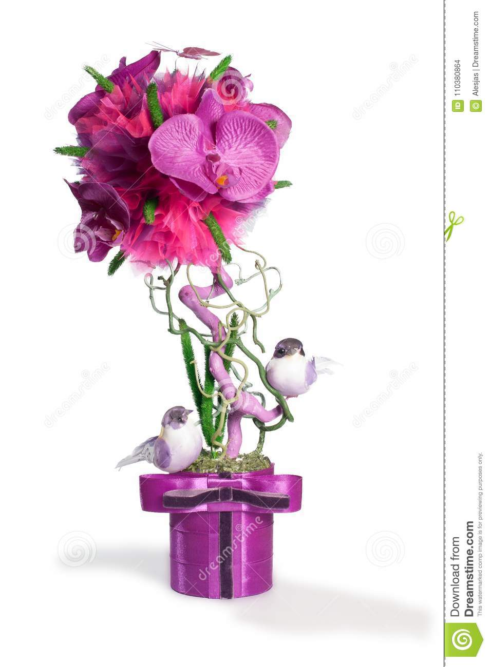 Floral Topiary In The Pink Colors With Birds Over White Background Stock Photo Image Of Background Colorful 110380864