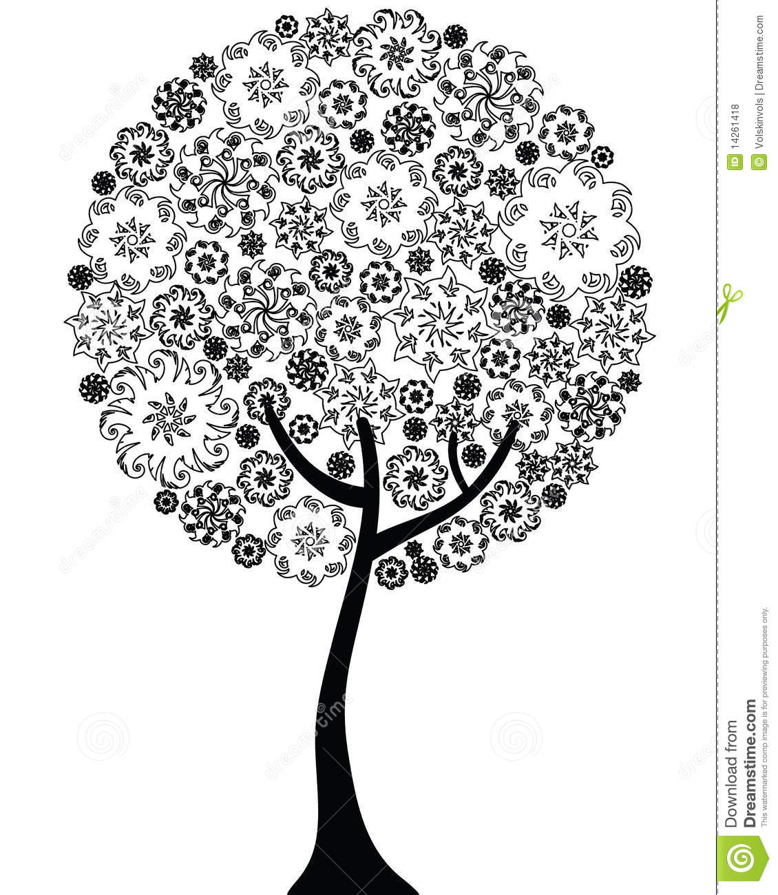 floral tree outline silhouette royalty free stock photos image
