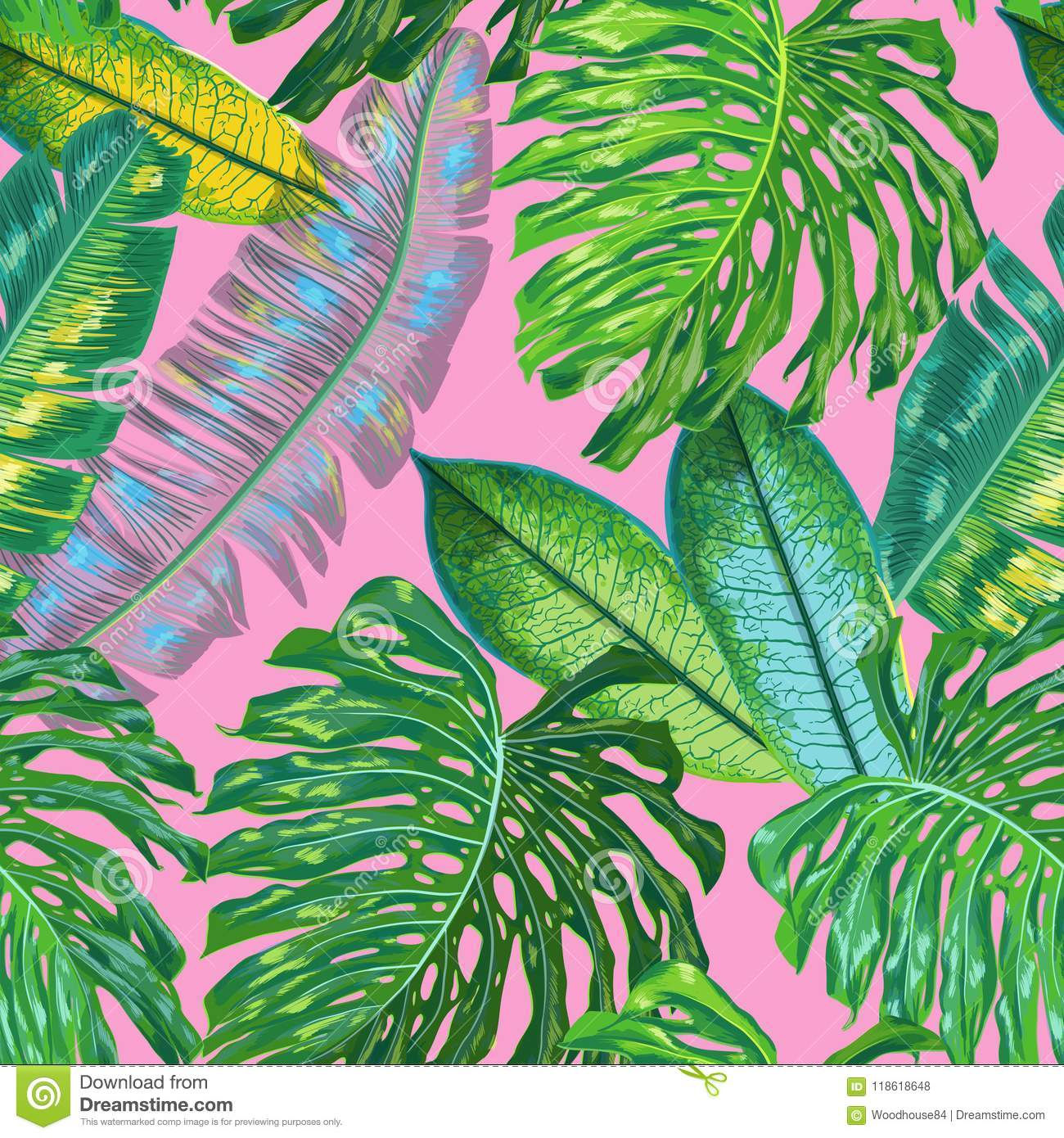 Floral Tropical Seamless Pattern Palm Leaves Watercolor