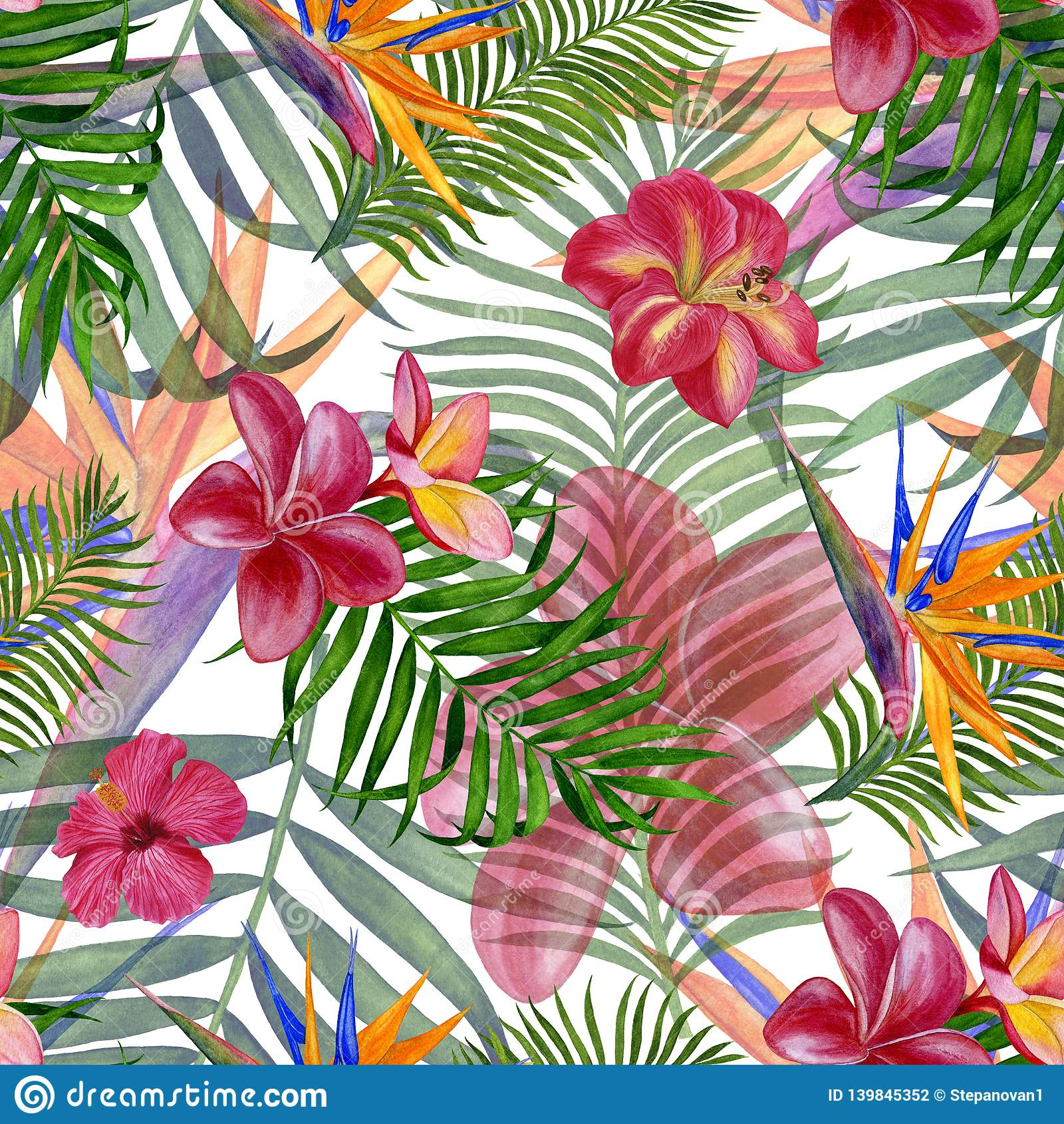 Floral Tropical Seamless Pattern For Wallpaper Or Fabric Pattern