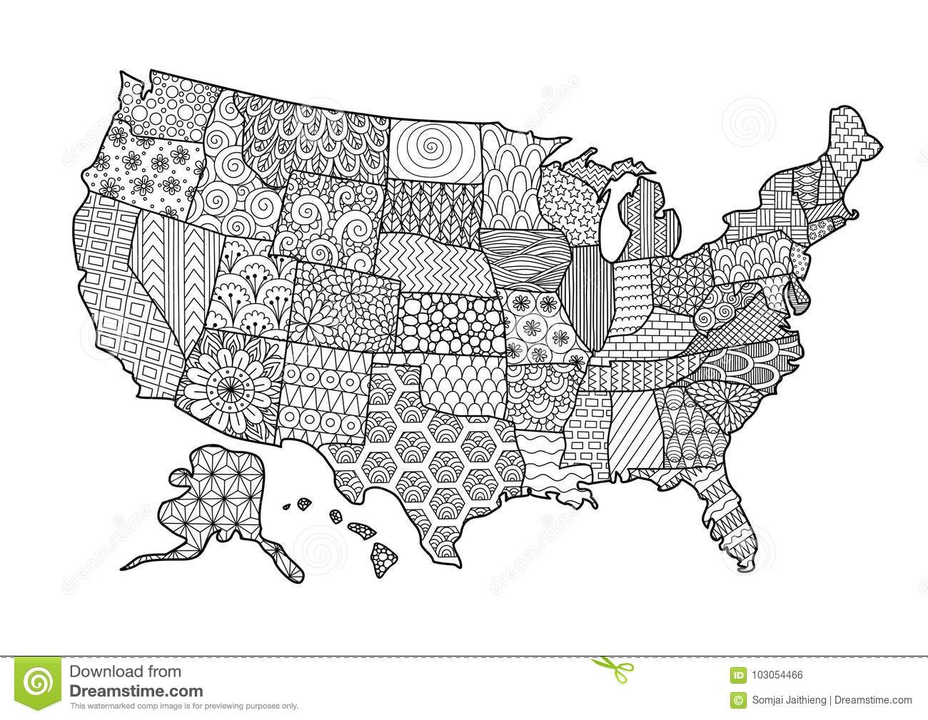 Coloring Usa Map.Floral Usa Map For Design Element And Adult Coloring Book Page