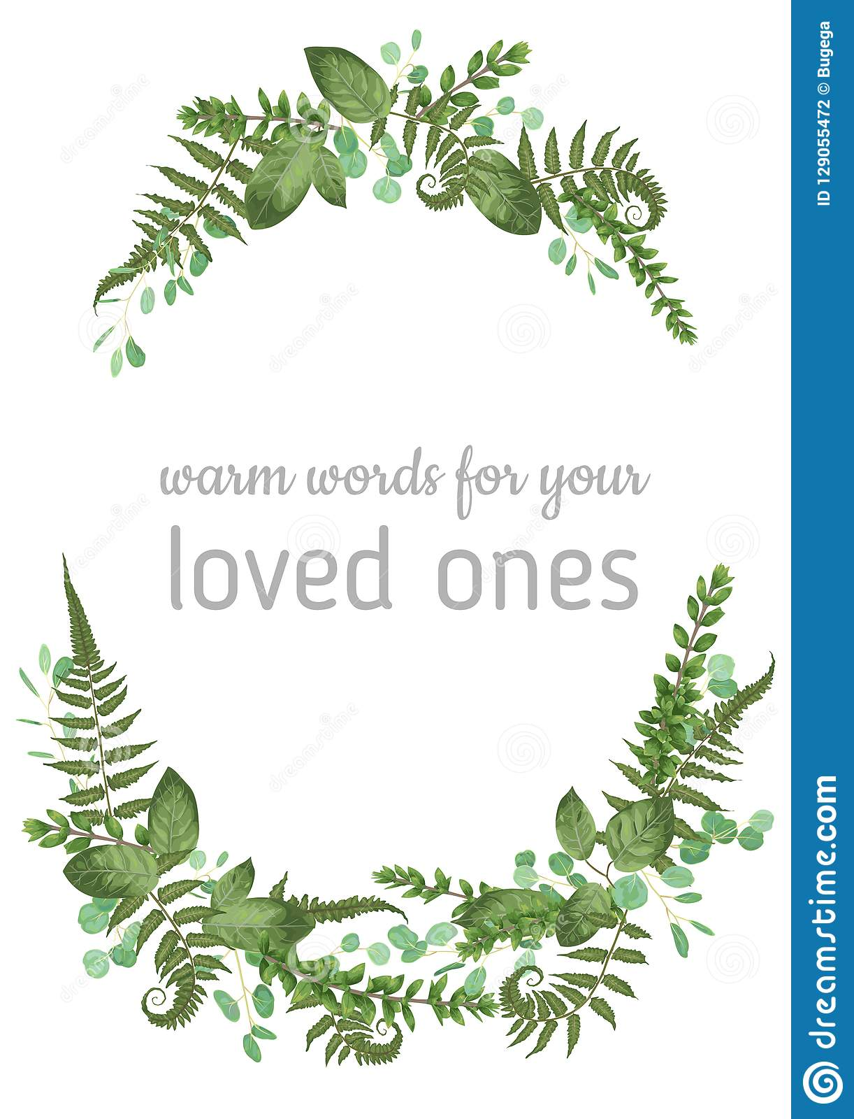 Floral vector background. Beautiful invitation with various leaves. Botanical illustration. Fern, eucalyptus, boxwood. Engraving
