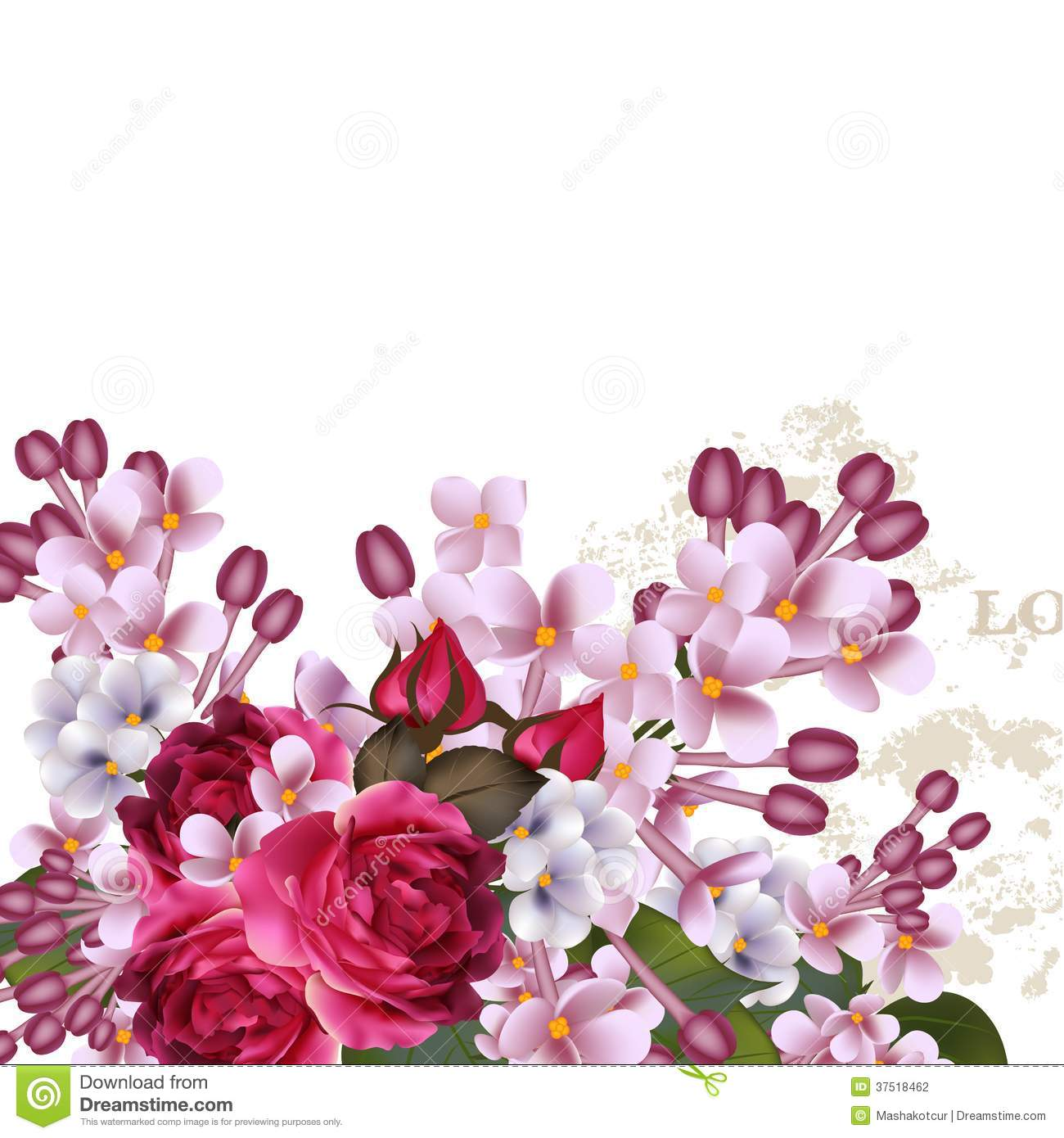 Floral Vector Background With Lilac Flowers And Roses