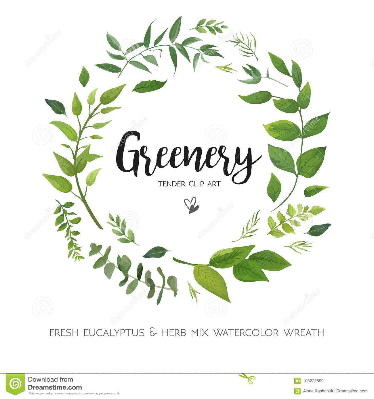 Floral vector card Design with green Eucalyptus fern leaves elegant greenery, herbs forest round, circle wreath beautiful cute ru