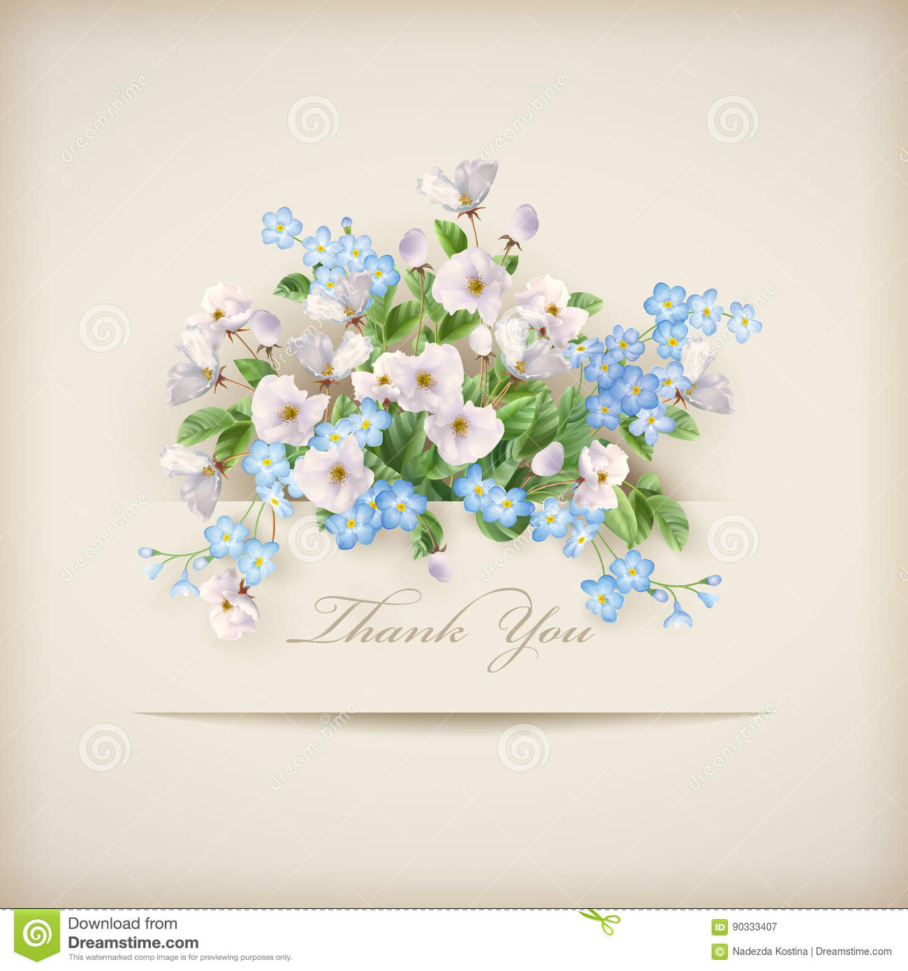 Beautiful Flower Thank You: Floral Vector Card Stock Vector. Image Of Blue, Pastel