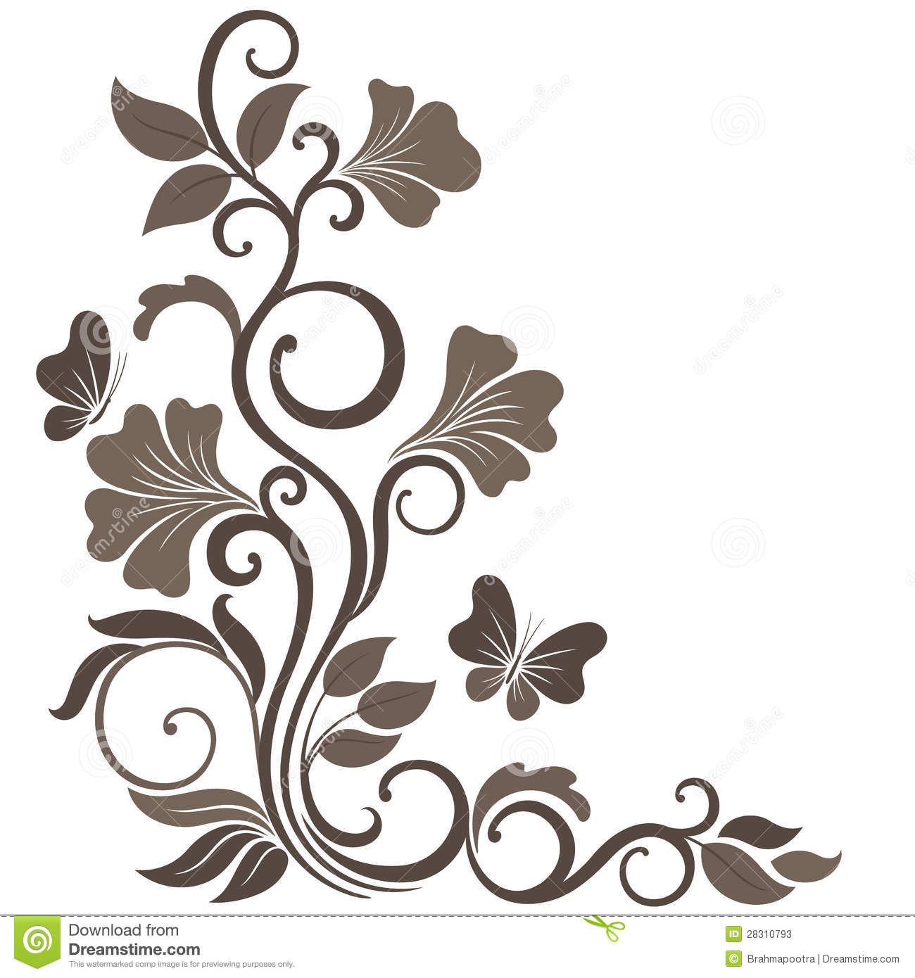 floral vector illustration in sepia stock vector illustration of