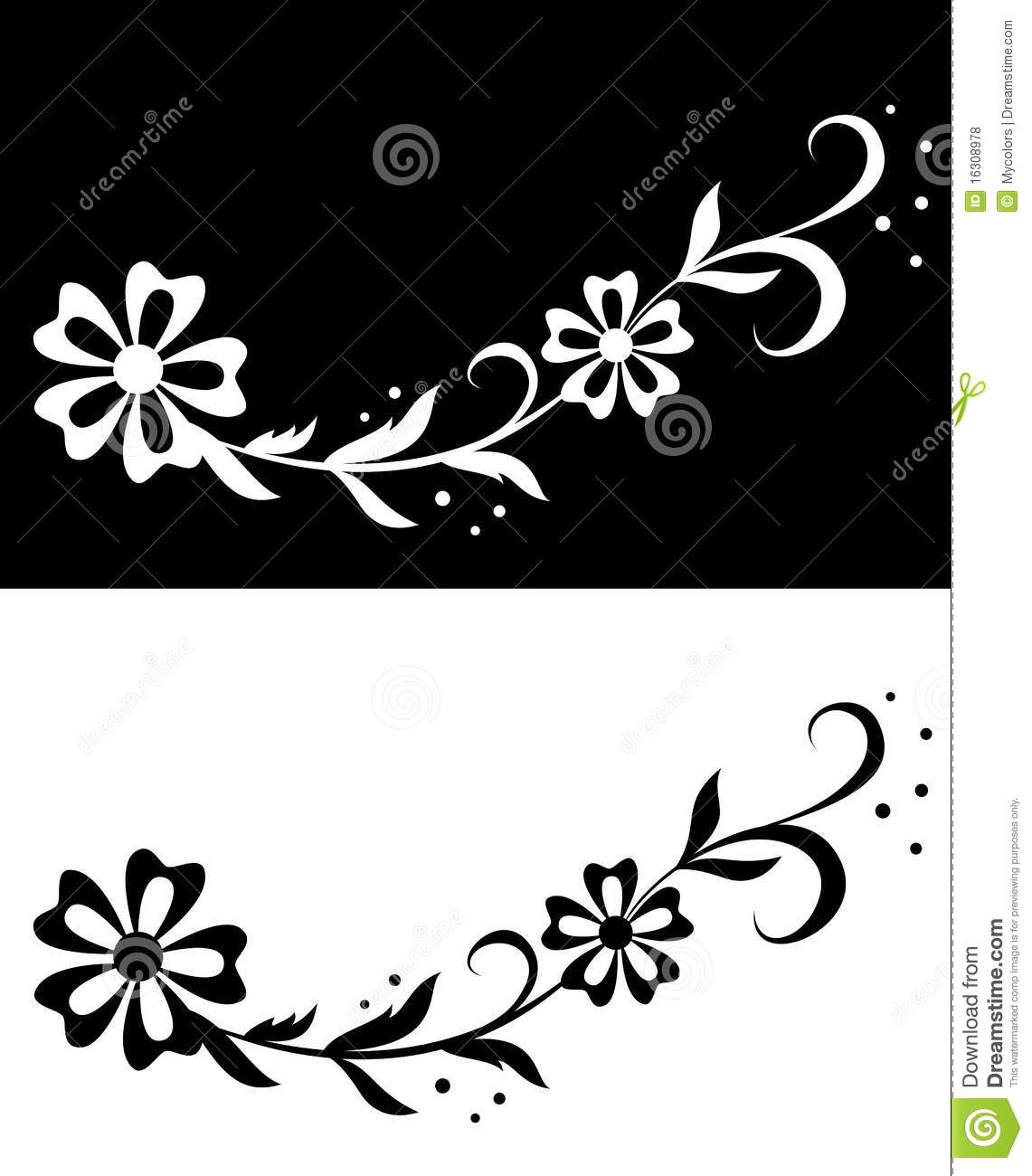 Floral vector illustration on white and black stock vector floral vector illustration on white and black mightylinksfo