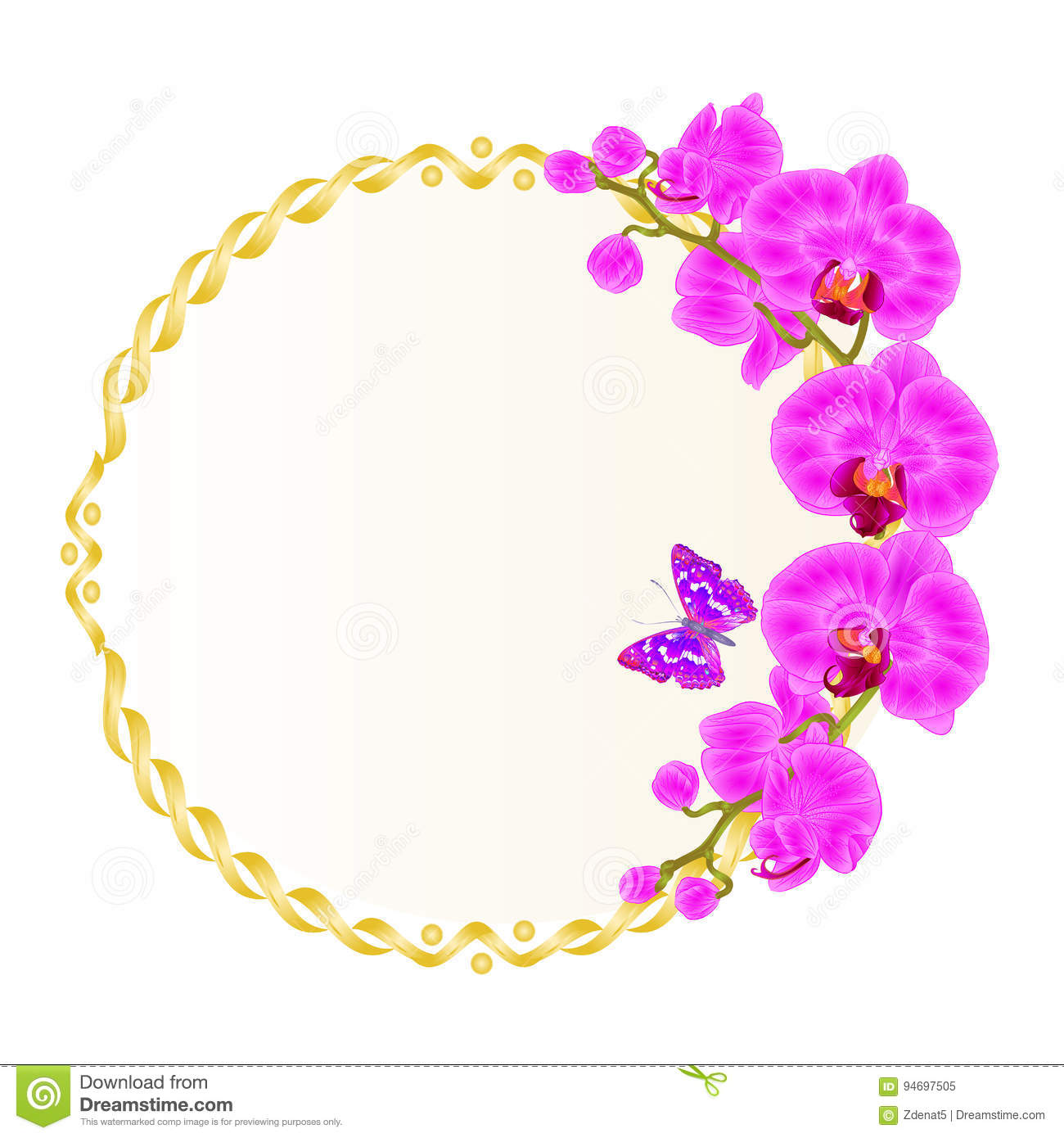 Floral vector round golden frame with orchids purple flowers tropical plants Phalaenopsis and cute small butterfly vintage