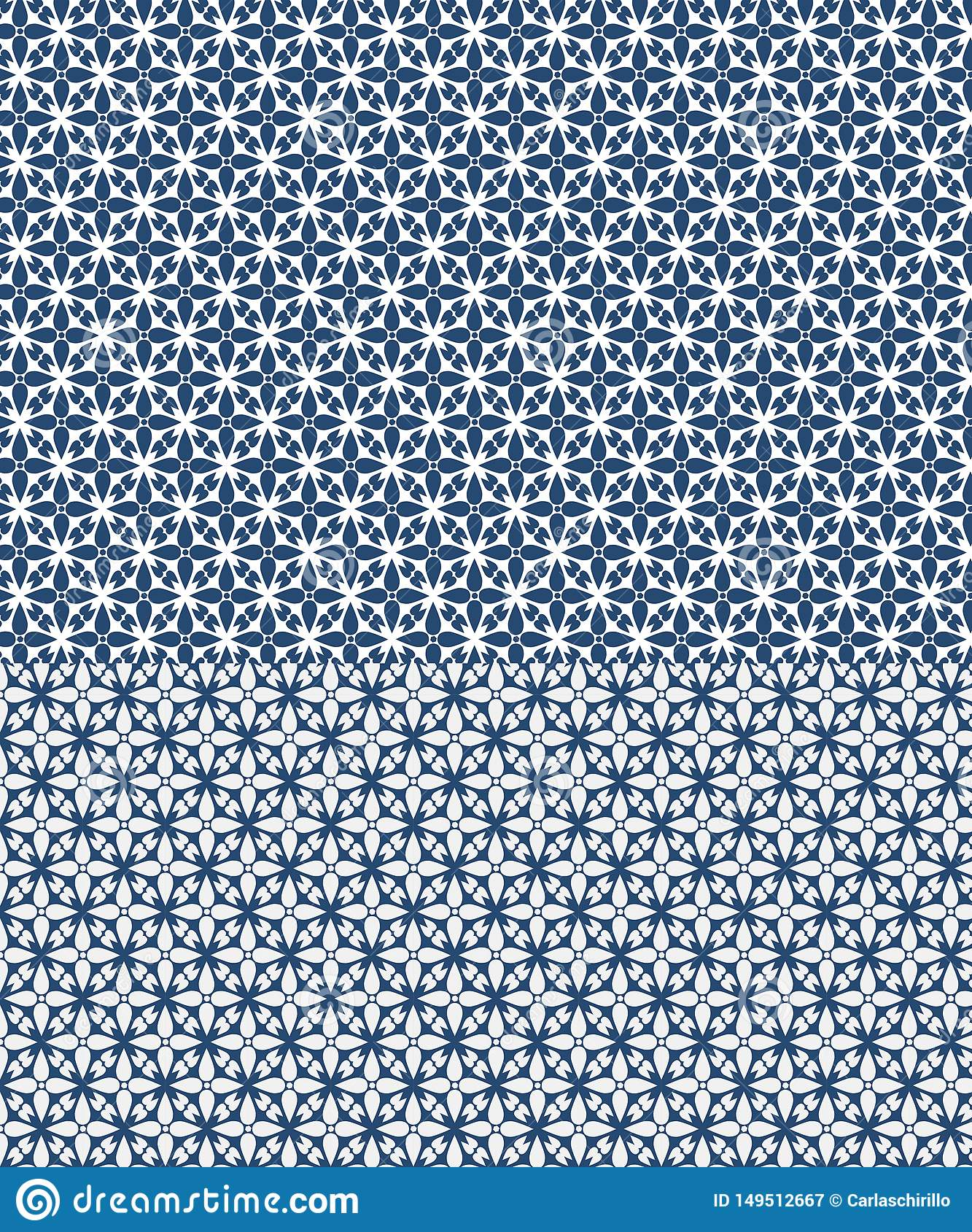 Floral vector seamless pattern inspired by azulejos