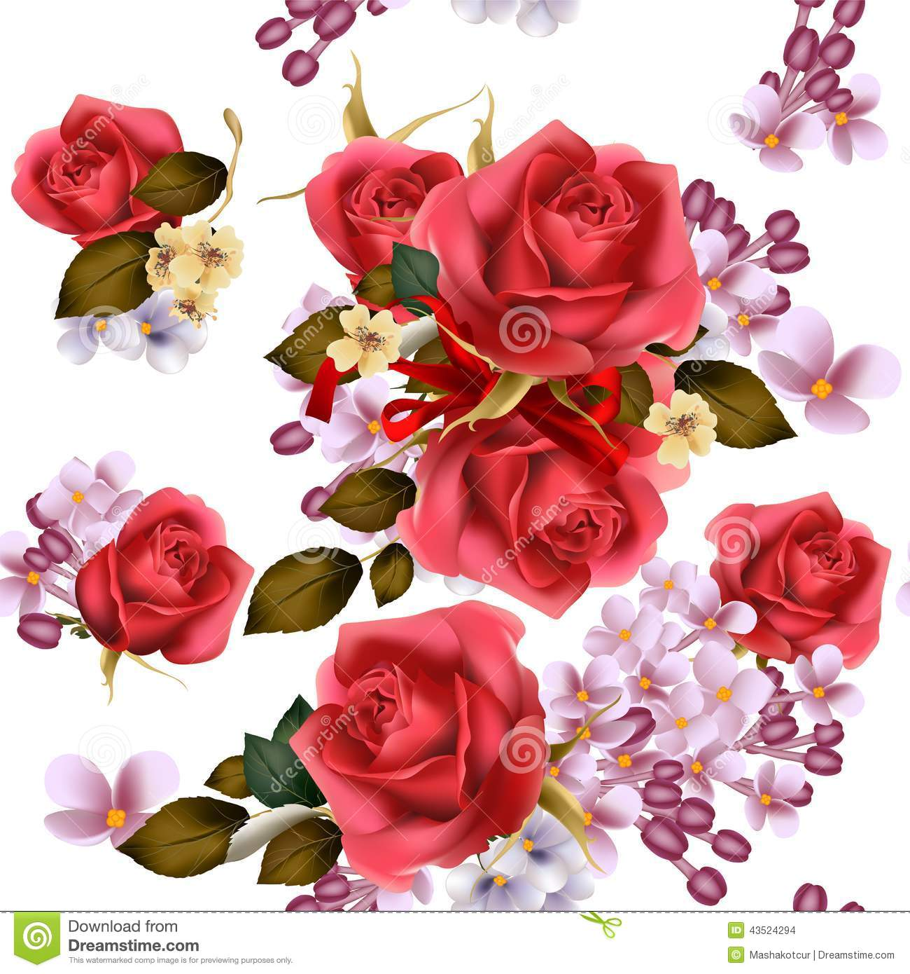 Floral Vector Seamless Wallpaper With Lilac Flowers And Roses Stock