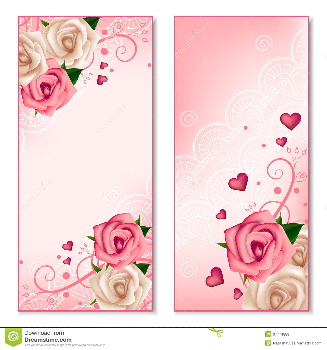 Floral vertical banners with roses stock vector - Pink roses and hearts wallpaper ...