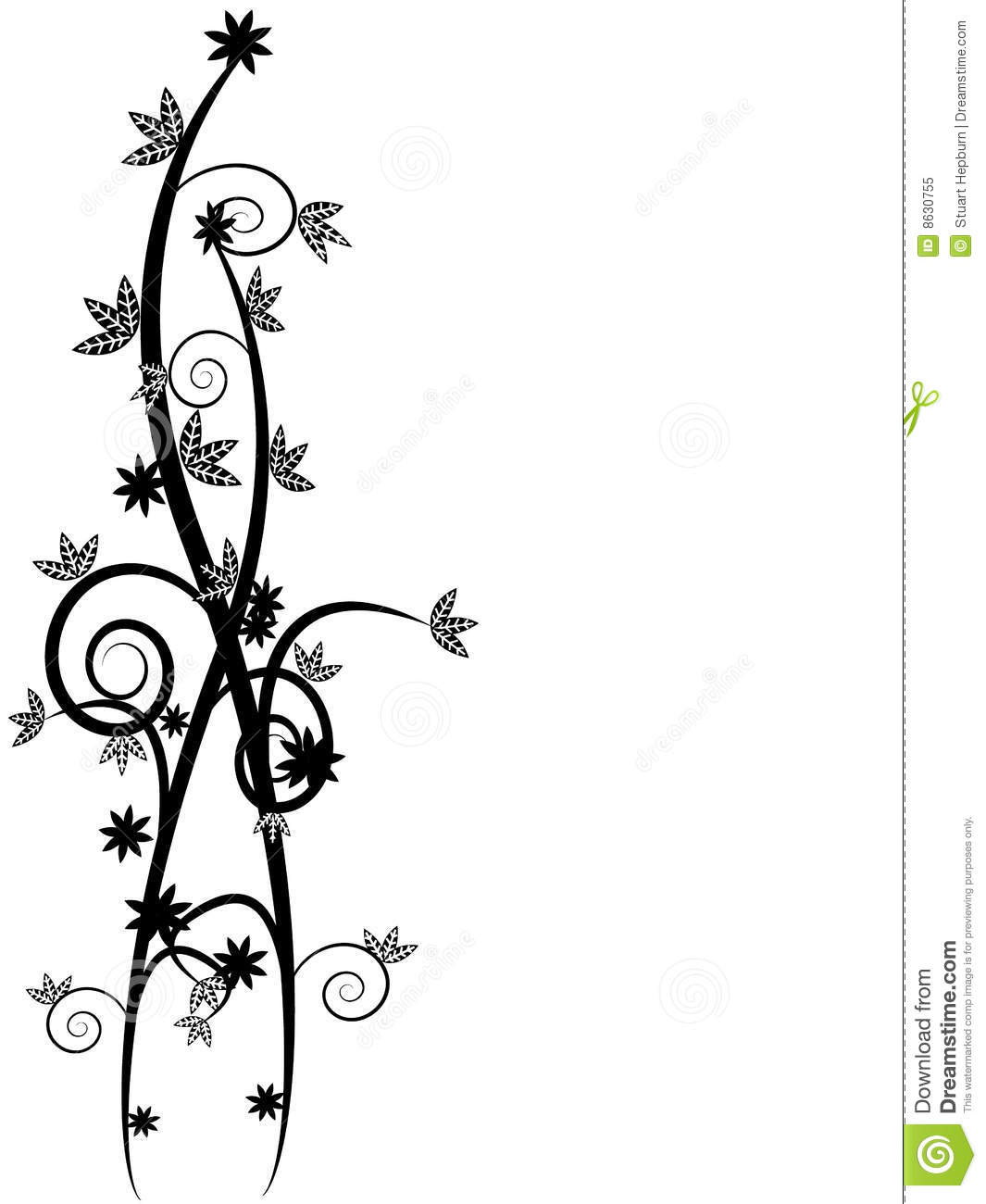 Black Flower And Vines Pattern Royalty Free Stock Image: Floral Vines Stock Vector. Image Of Nature, Decorative