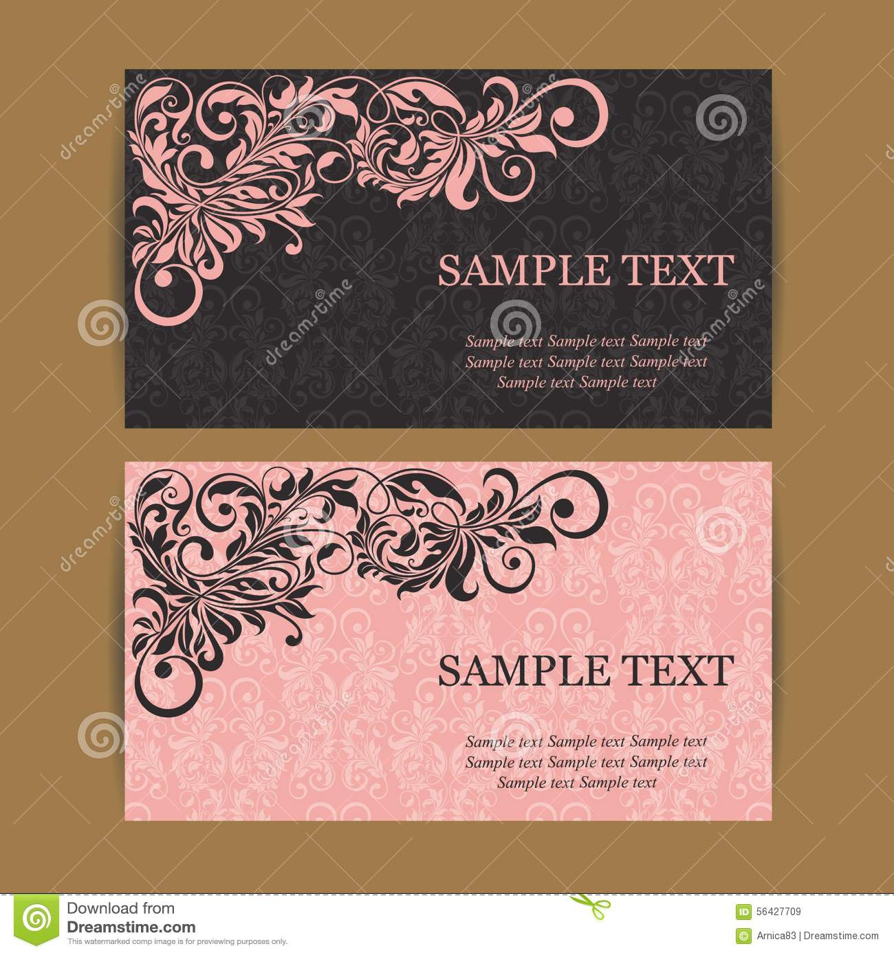 Floral Vintage Business Cards Stock Vector - Image: 56427709