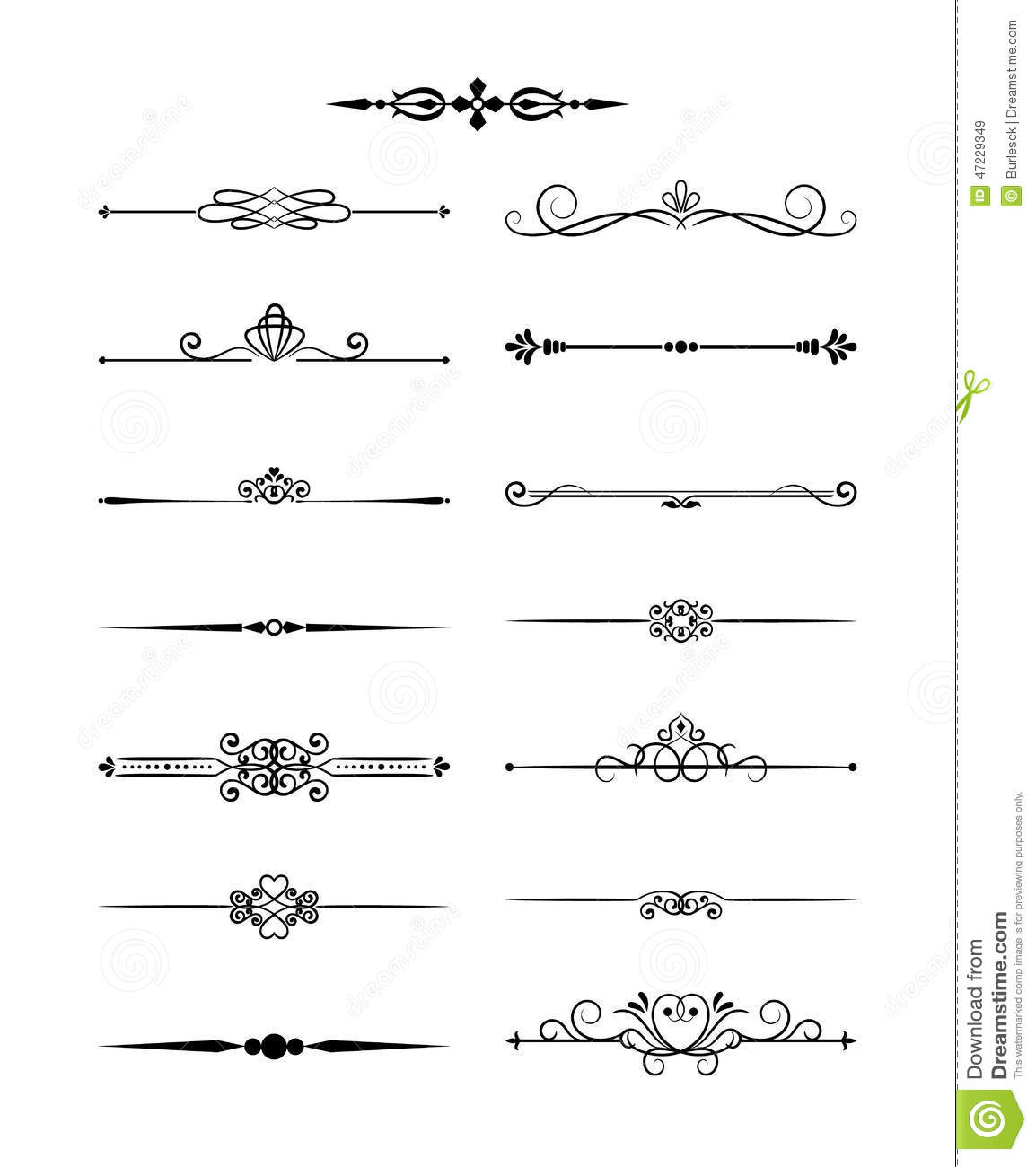 Floral Vintage Dividers Elements For Page Decor Stock Vector - Image ...