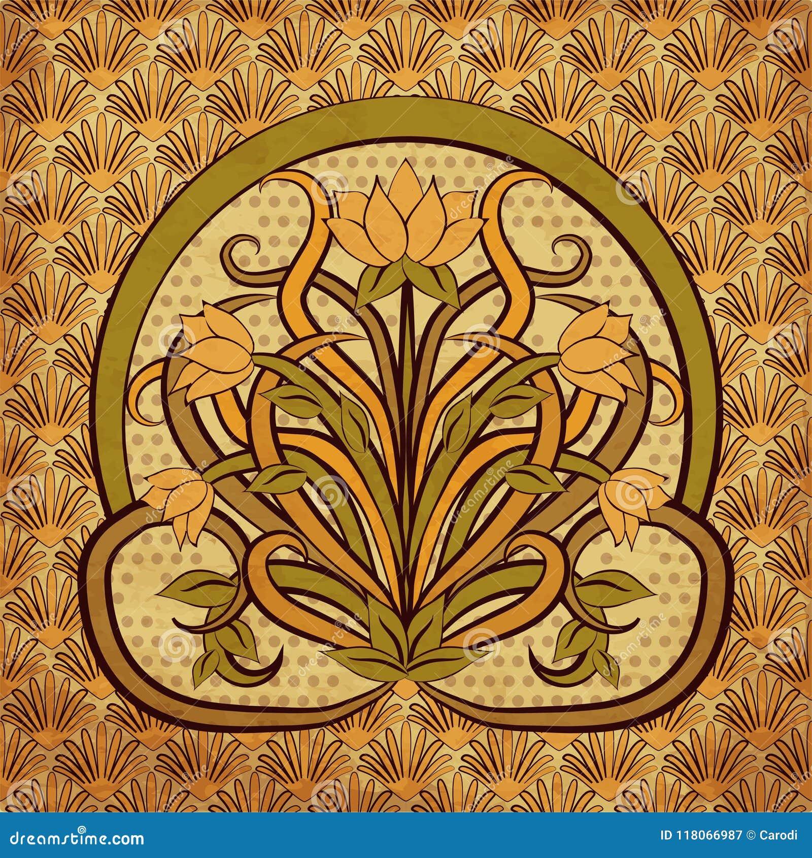 Floral Wallpaper In Art Nouveau Style Vector Stock Vector