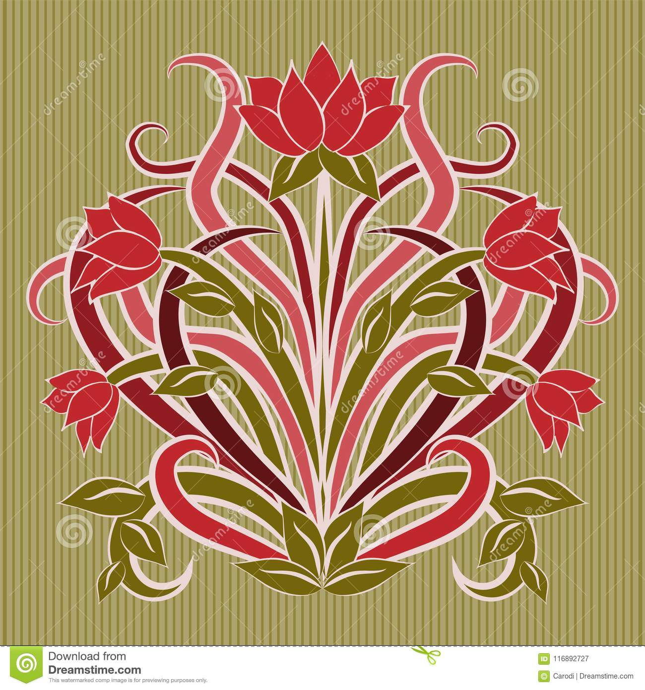 Floral Wallpaper In Art Nouveau Style Vector Stock Vector