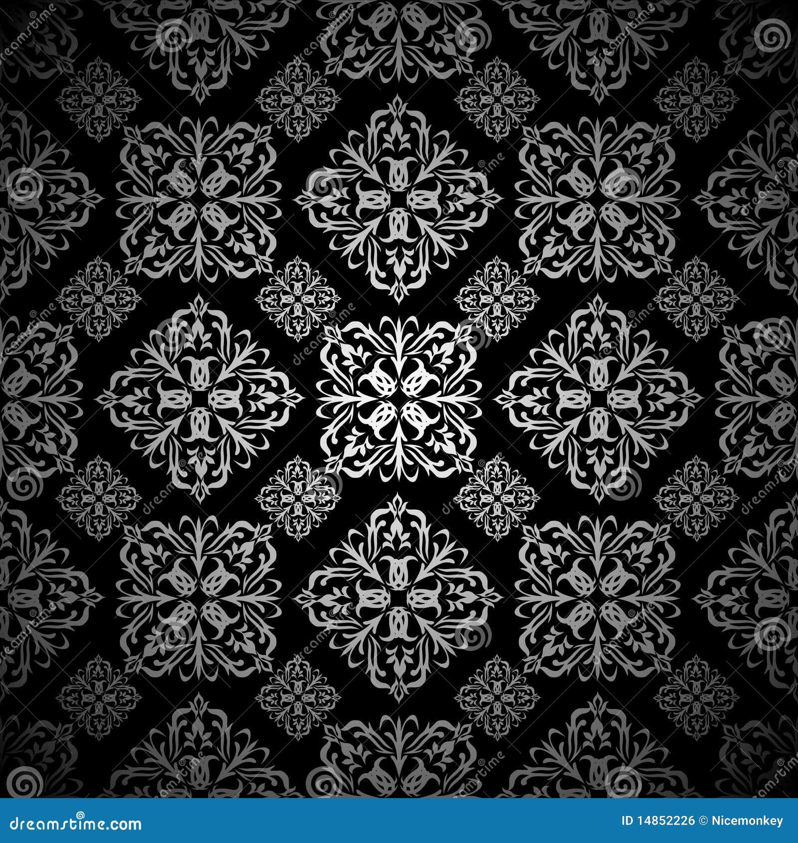 Floral wallpaper silver tile