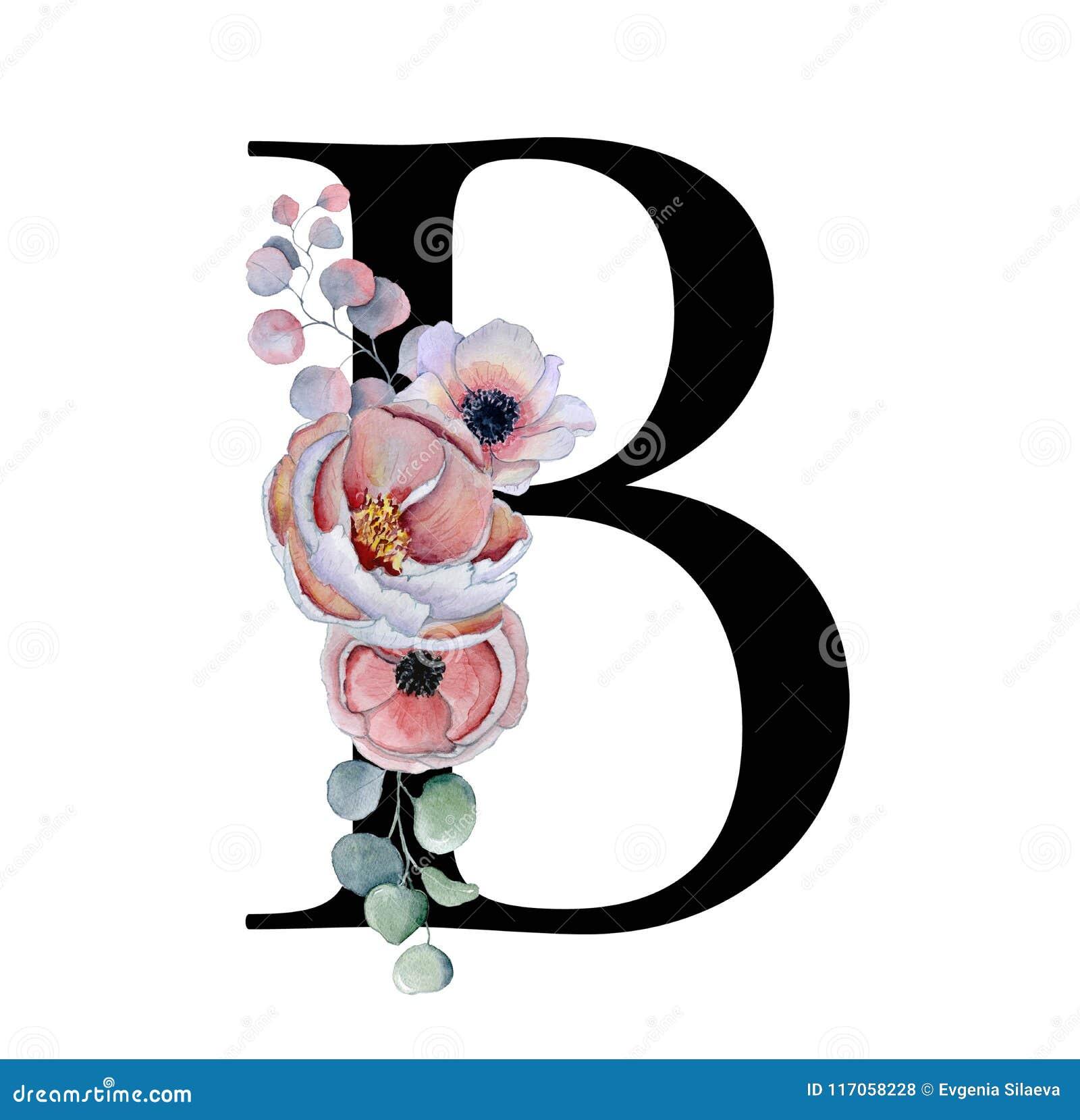 Floral Watercolor Alphabet. Monogram Initial Letter B