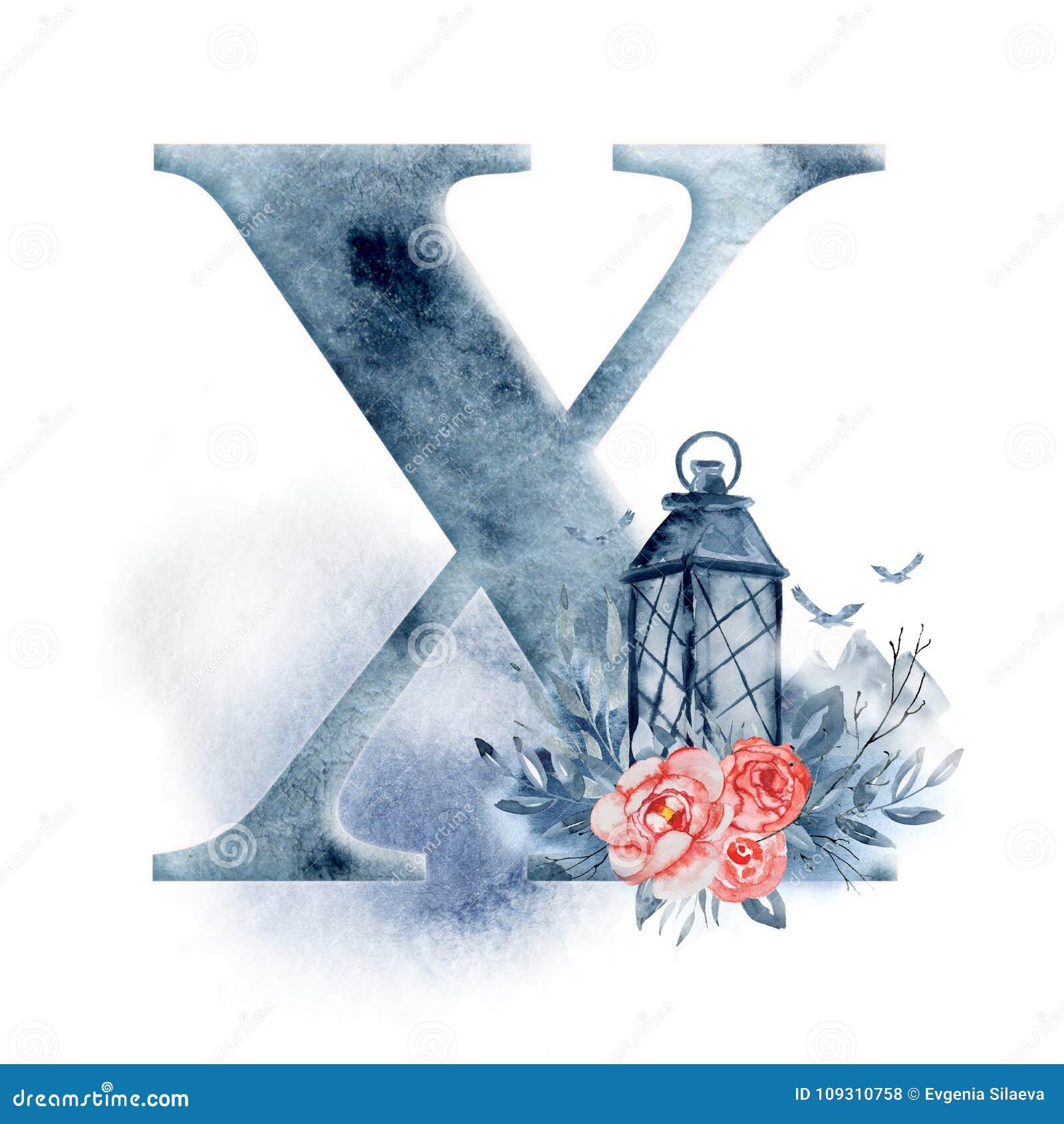 Floral Watercolor Alphabet Monogram Initial Letter Z Design With