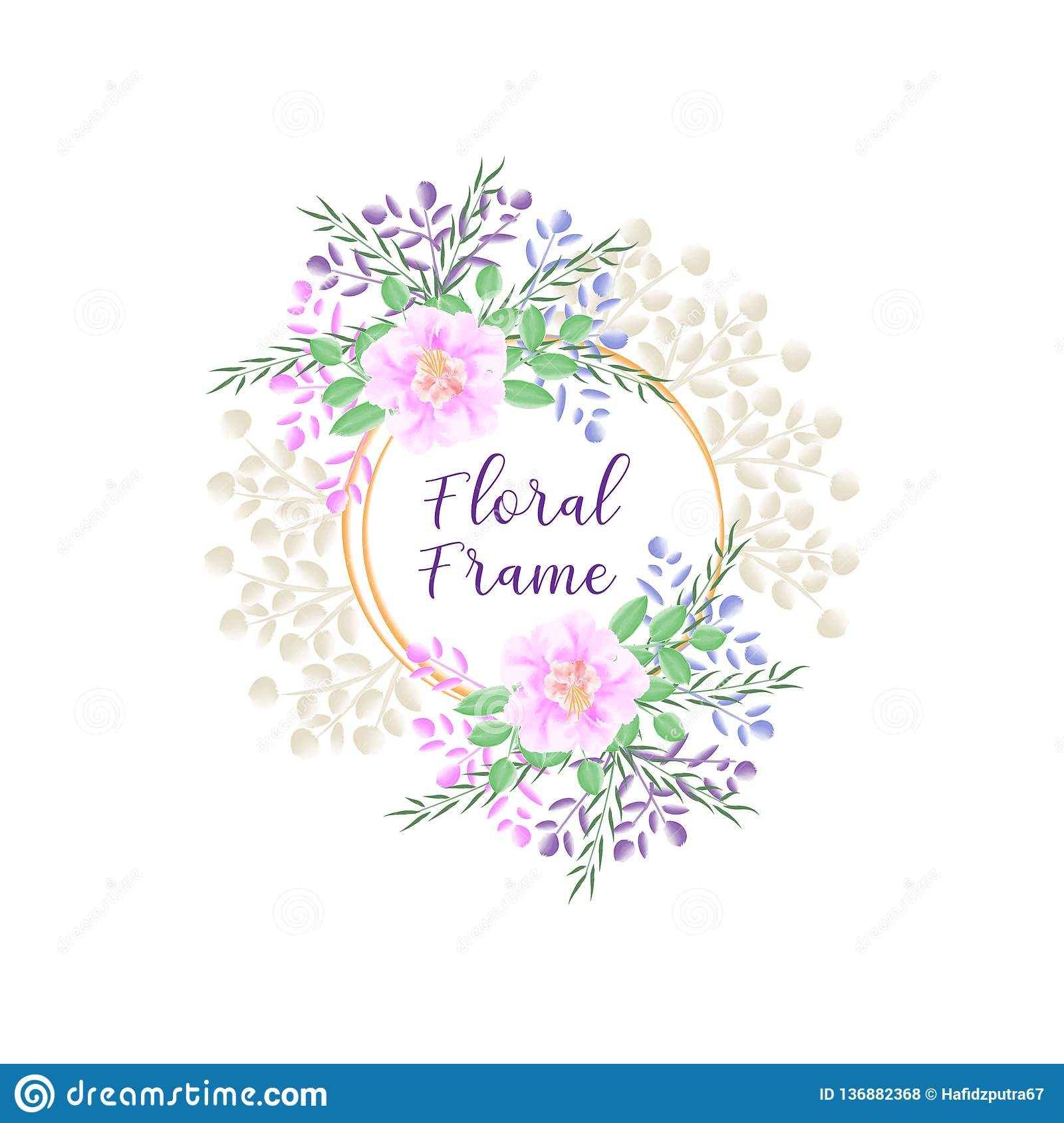 Floral frame with floral watercolor and elegant concept