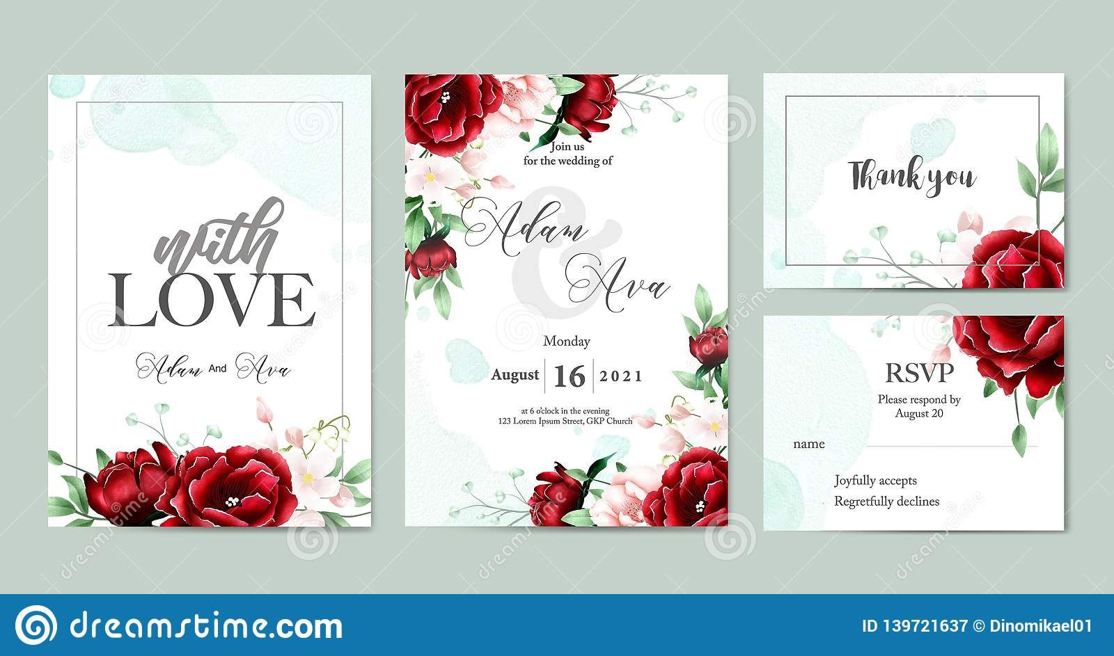 Floral Watercolor Wedding Invitation Template Set Stock Vector -  Illustration of backgrounds, party: 139721637