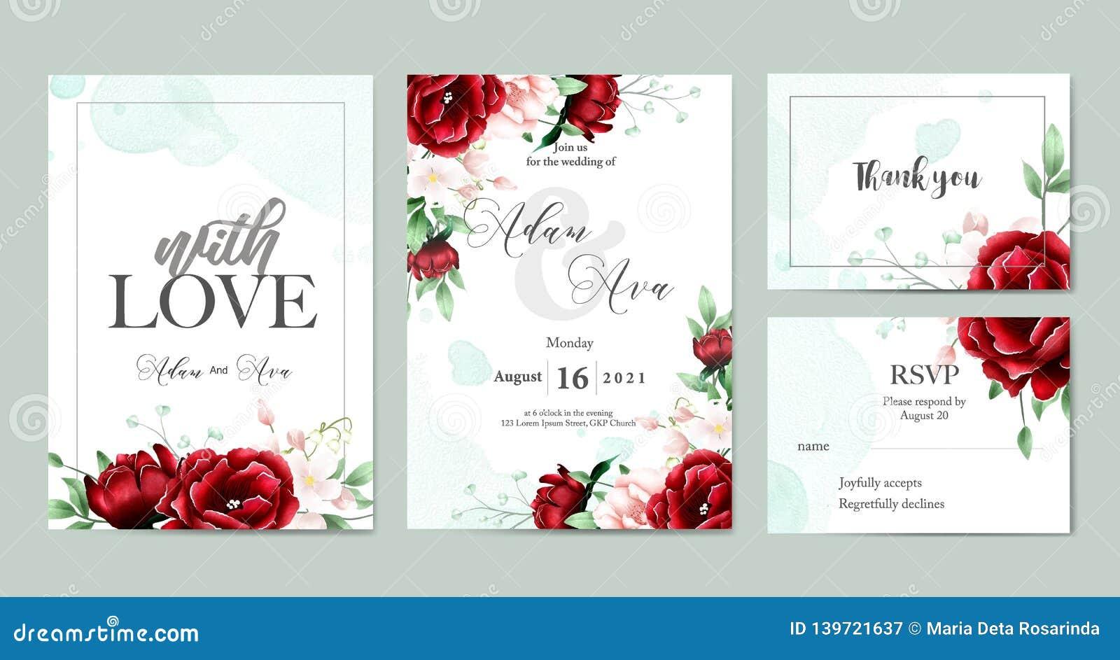 Floral Watercolor Wedding Invitation Template Set Stock Vector -  Illustration of creative, invitation: 139721637