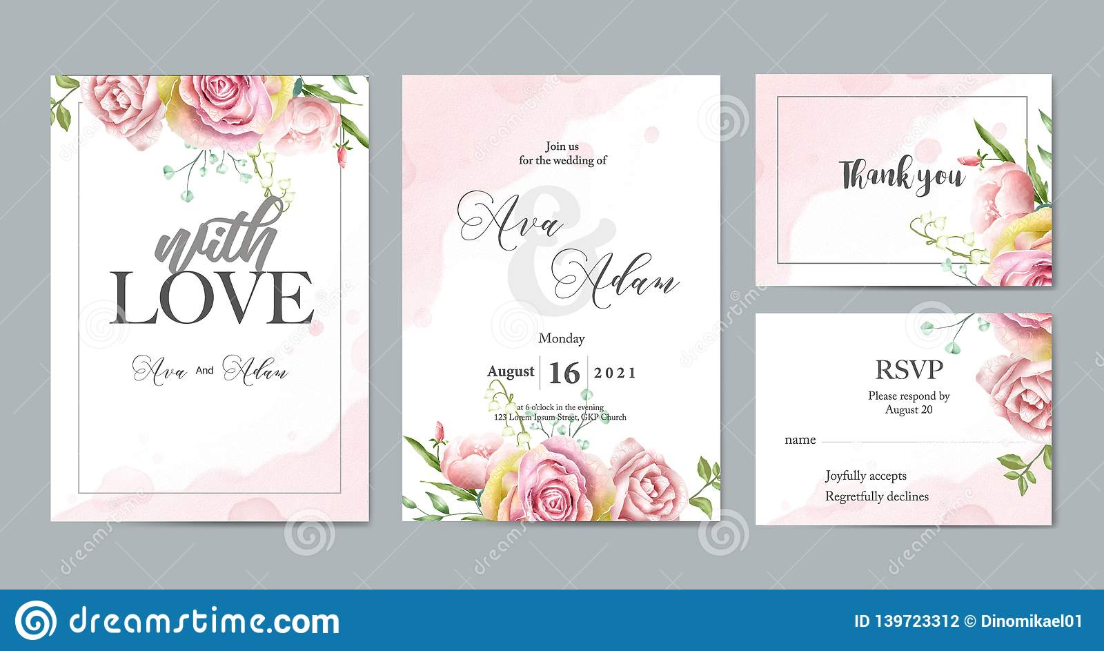 Floral Watercolor Wedding Invitation Template Set Stock Vector