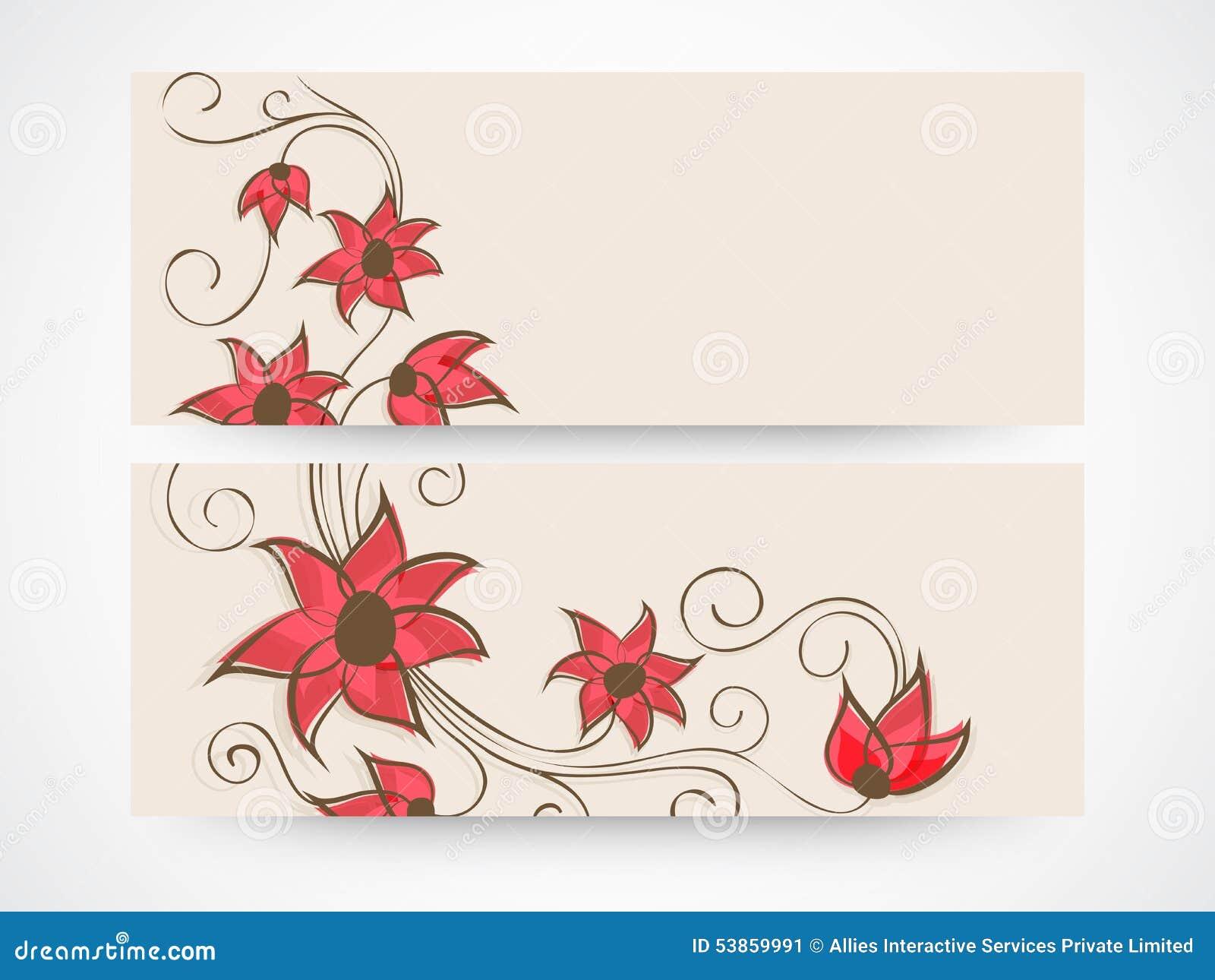 Floral Website Header Or Banner Design Stock Photo