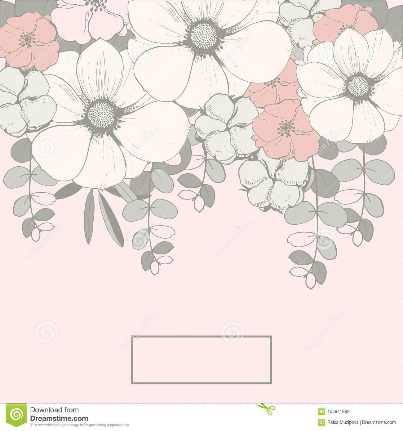 Floral Wedding Background With Pink Flowers Eucalyptus Leaves