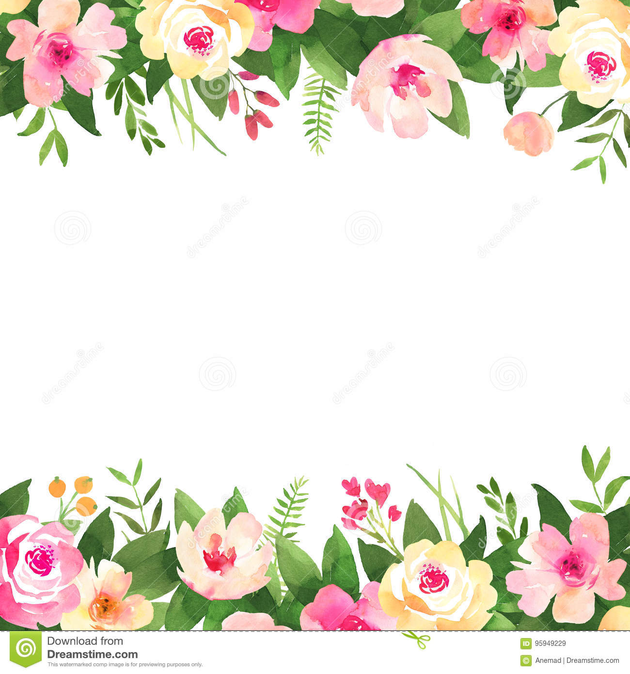 Floral Wedding Background With Roses Watercolor