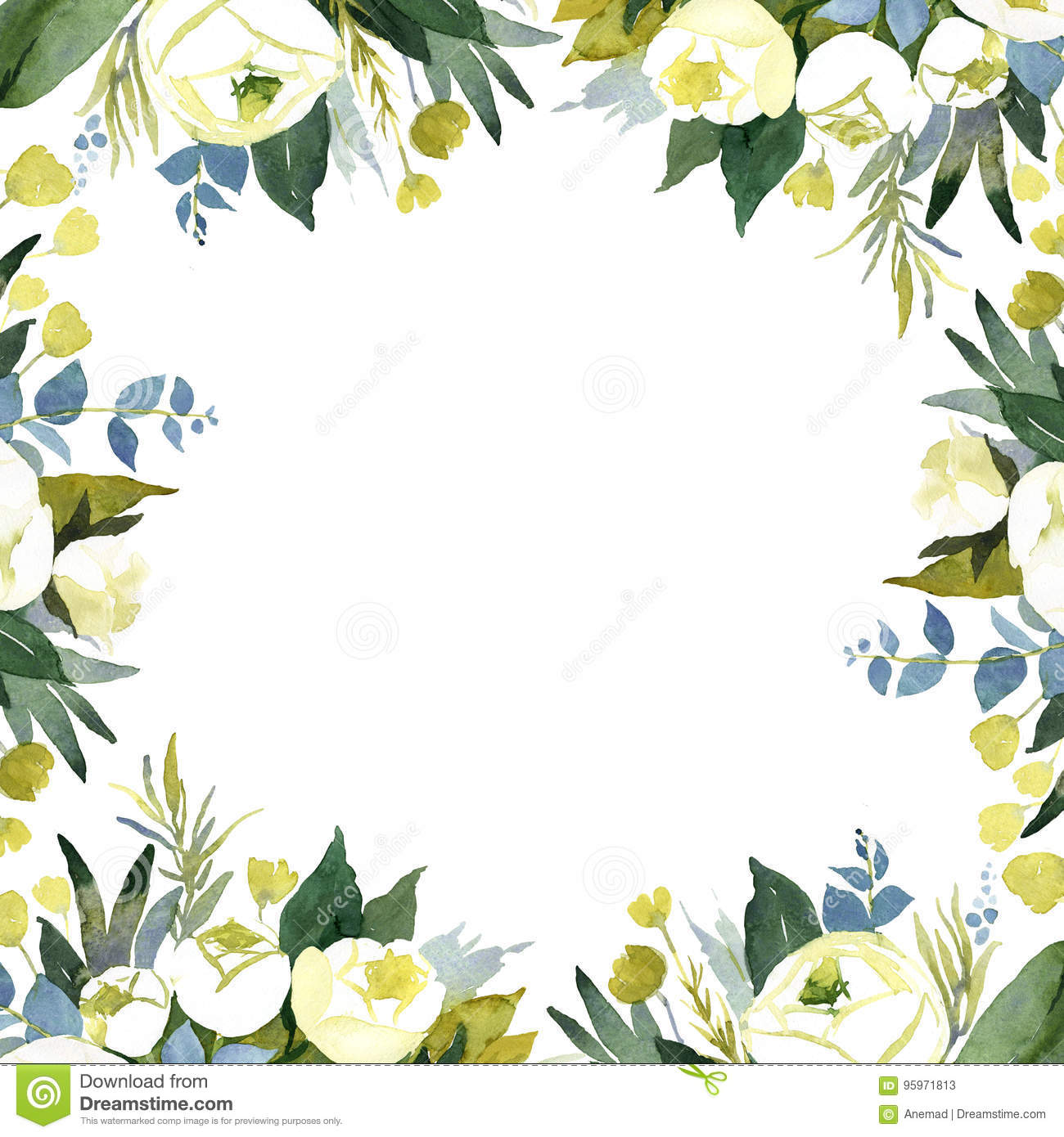 Floral Wedding Background With White Roses Stock Illustration