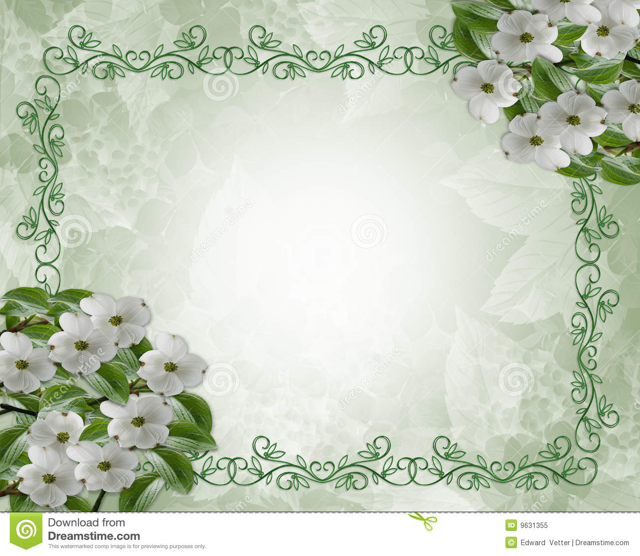 floral wedding border dogwood stock illustration illustration of