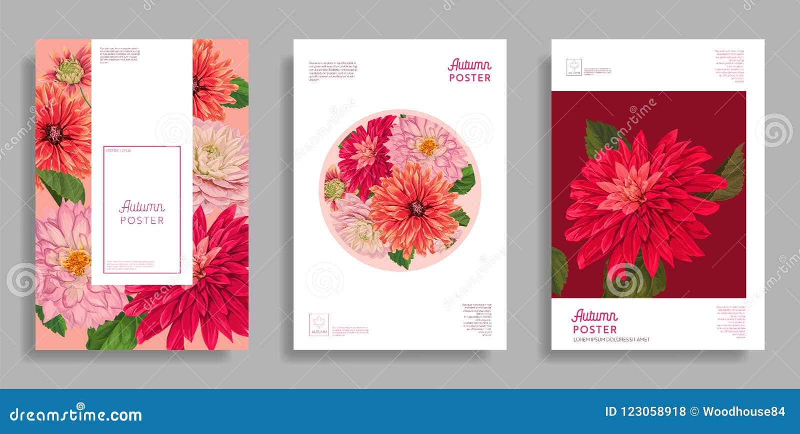 Floral Wedding Design. Flowers Layout Background Set For Poster ...