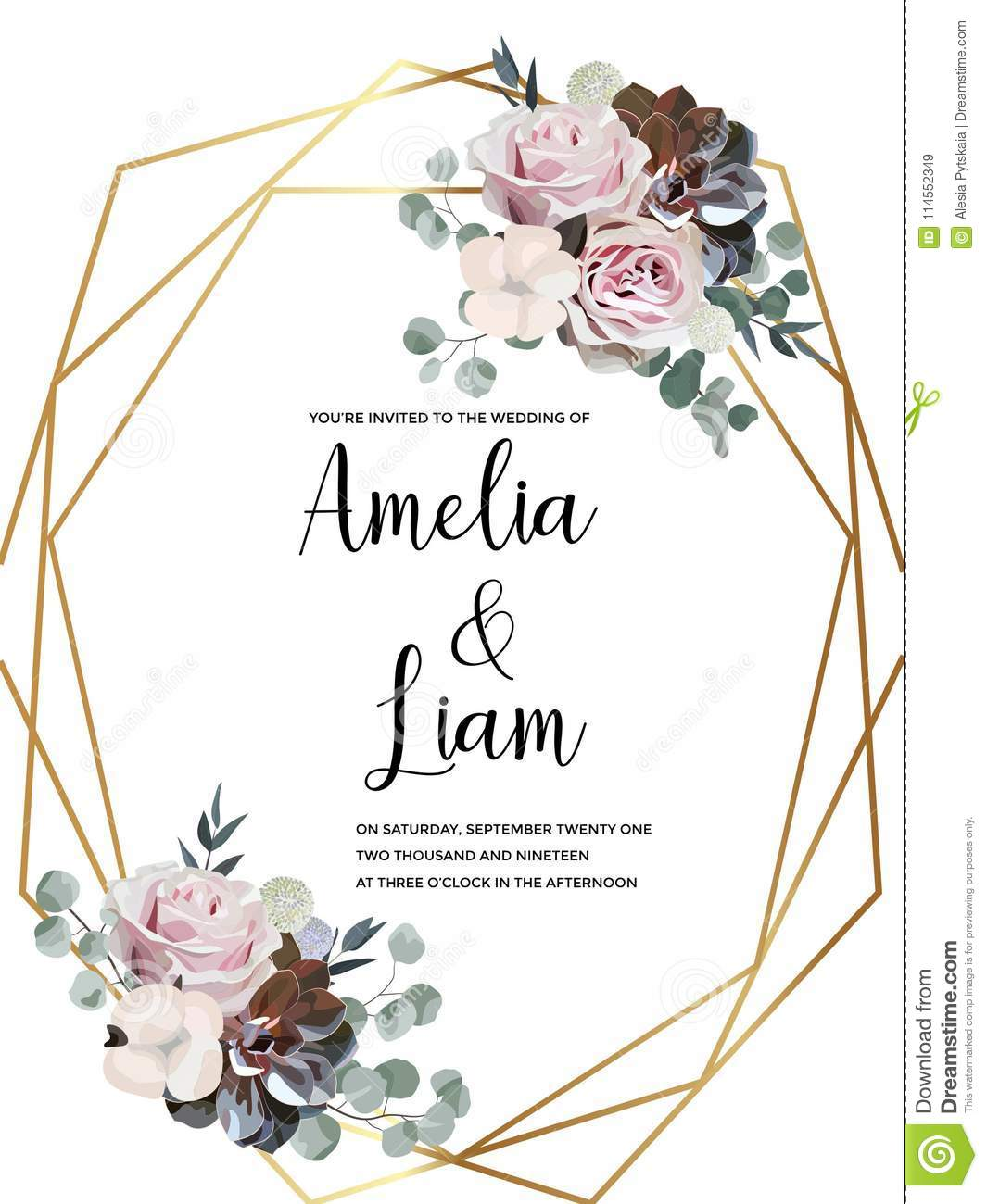 Floral Wedding Invitation Card With Rose,cotton,succulent