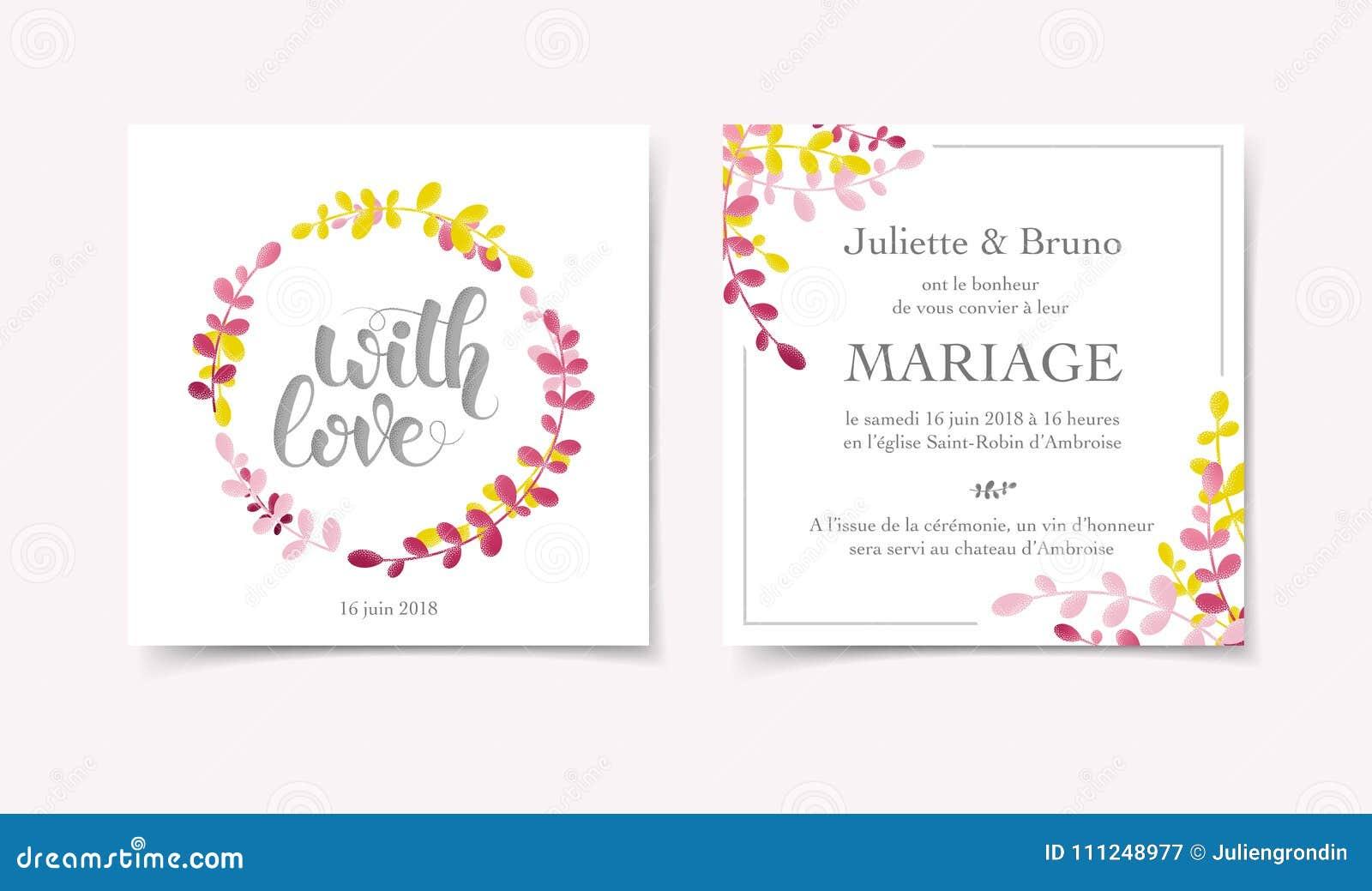 Floral Wedding Invitation Card Template Stock Illustration ...