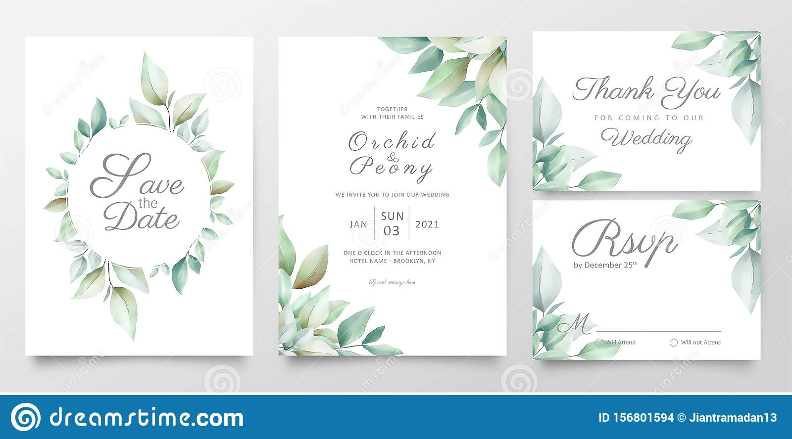 Floral Wedding Invitation Card Template Set Of Realistic