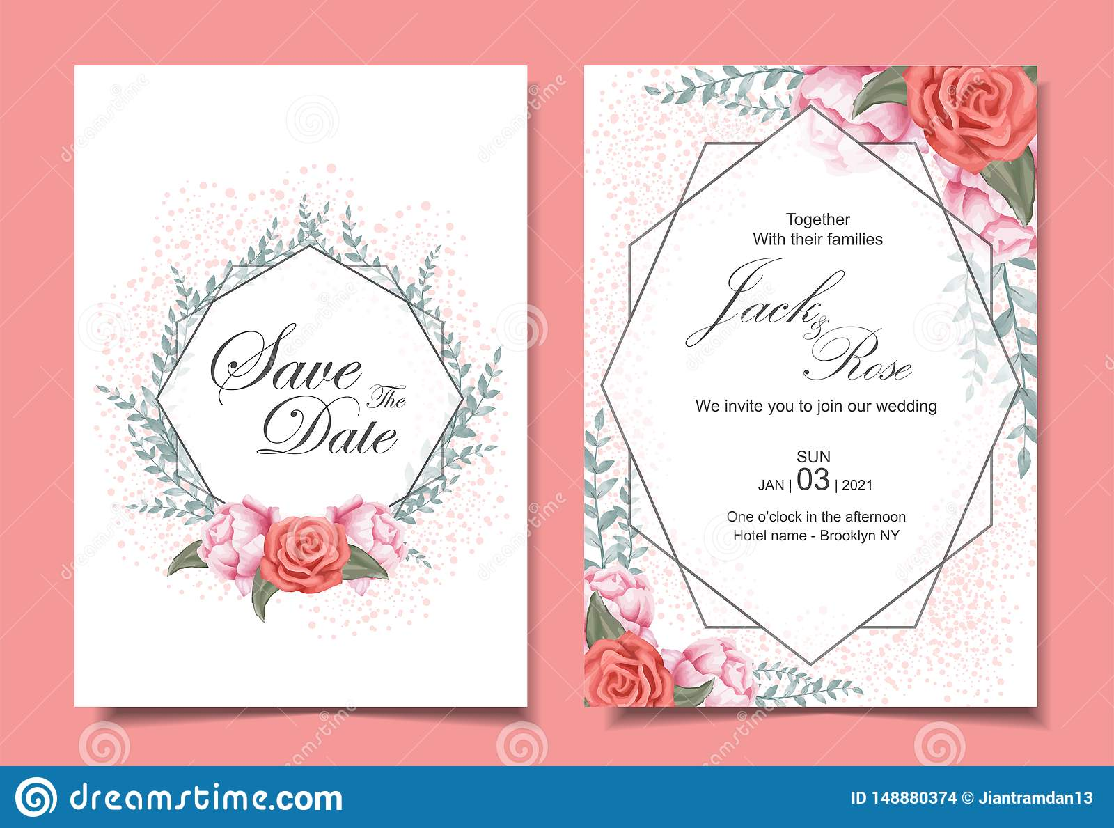 Floral Wedding Invitation Cards Set With Roses Wild Leaves