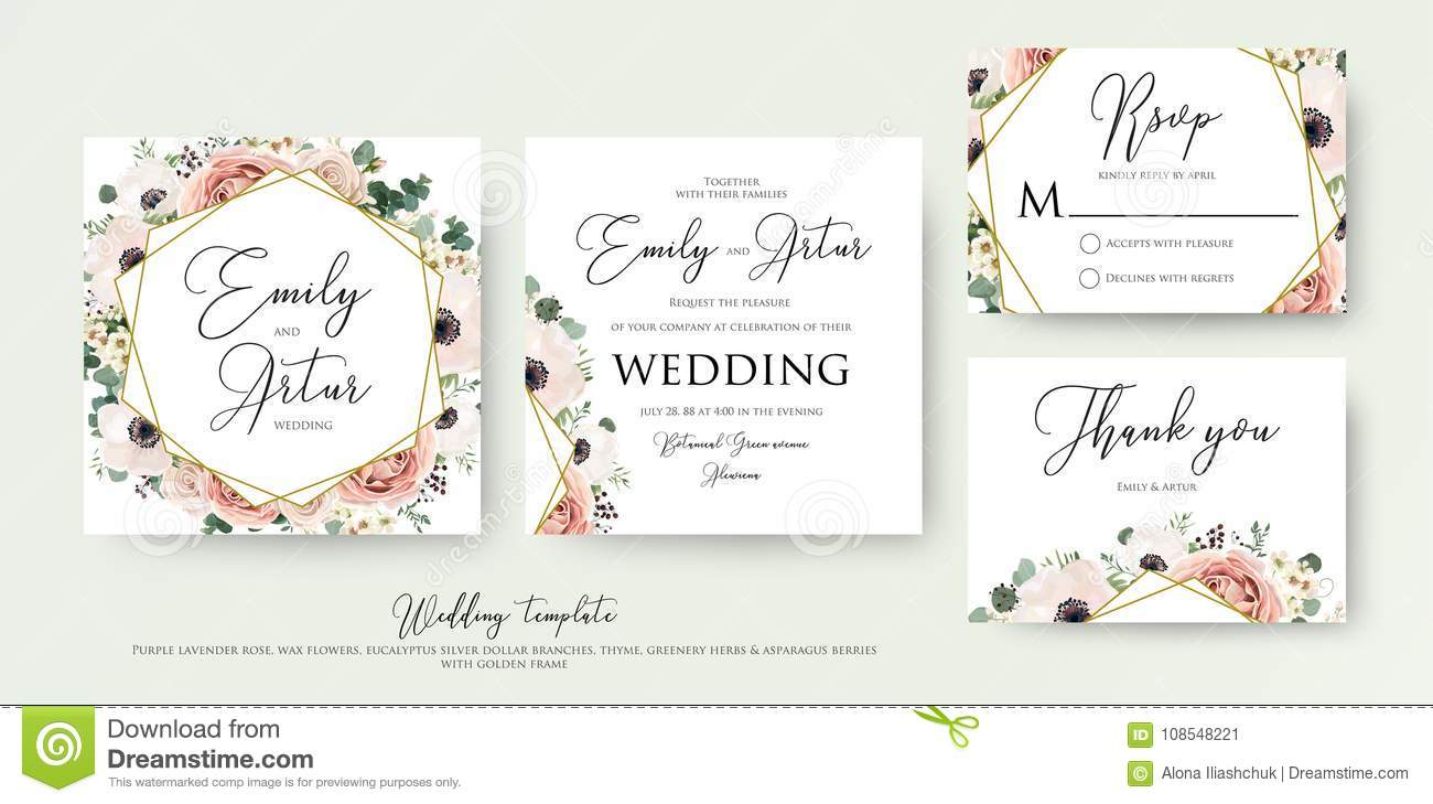 Floral Wedding Invitation Elegant Invite, Thank You, Rsvp Card V ...