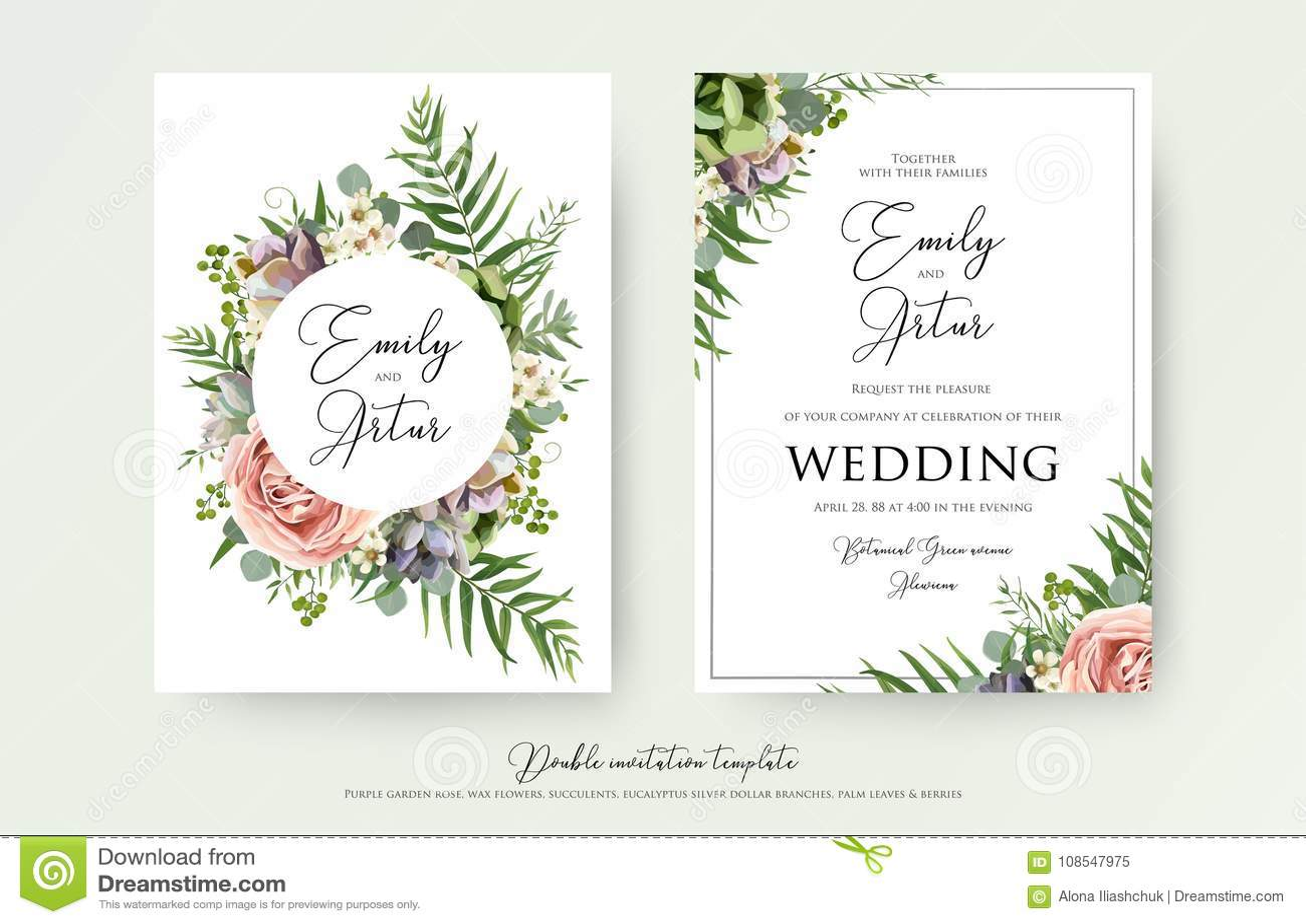 Floral Wedding Invitation Elegant Invite Thank You Rsvp Card V