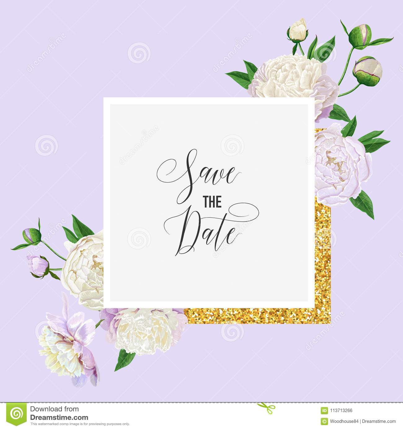 Floral Wedding Invitation. Save The Date Card With Blooming White ...