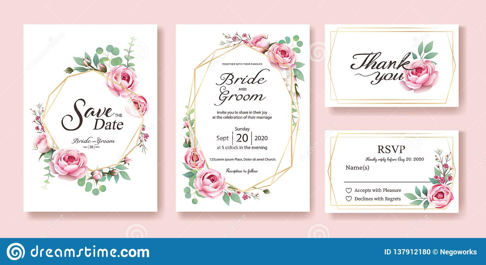 Floral wedding Invitation, save the date, thank you, rsvp card Design template. Vector. Queen of Sweden rose, silver dollar, leave